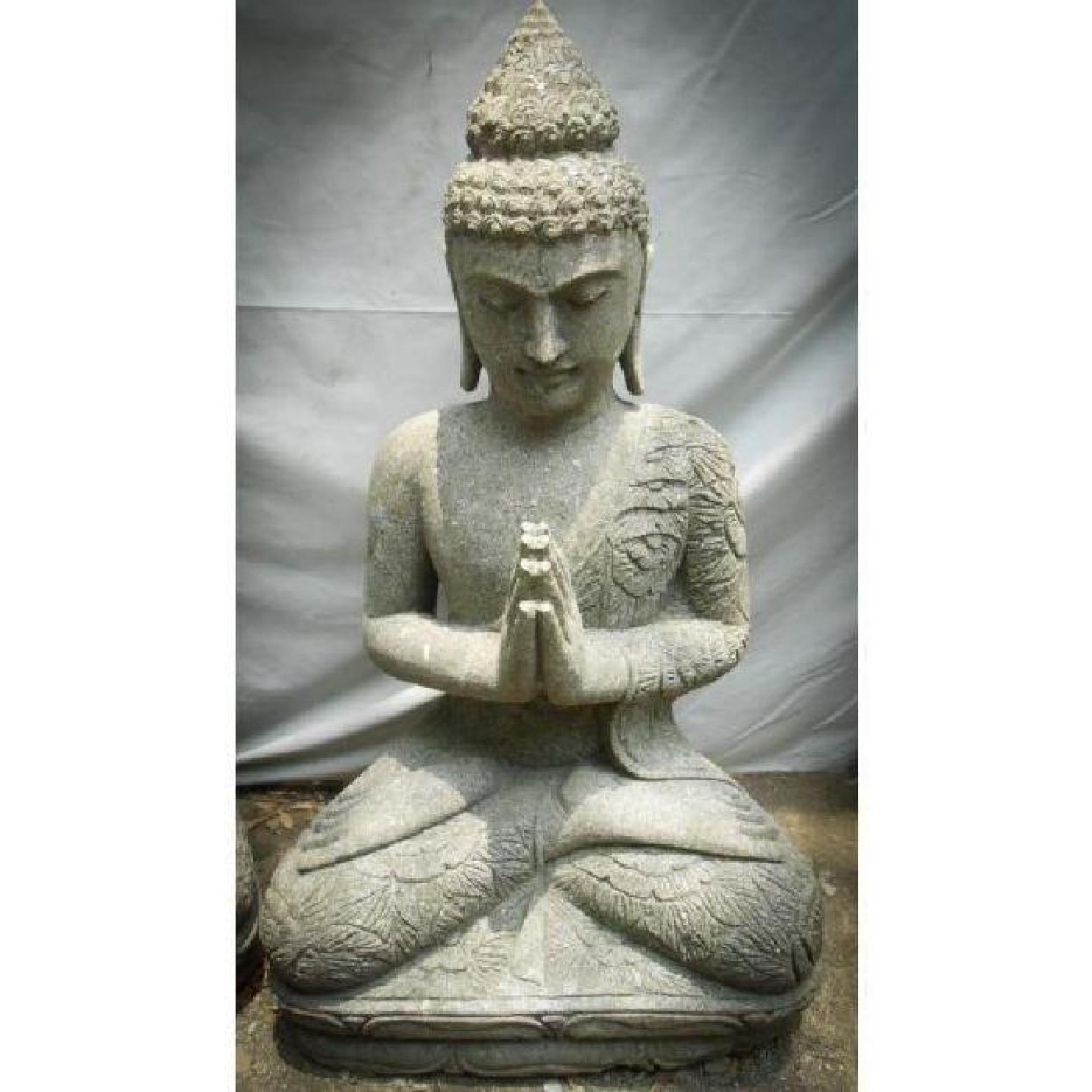 Statue En Pierre Bouddha Jardin Zen Position Priere 1 M dedans Statue De Jardin Pas Cher