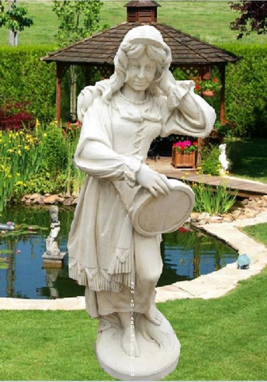 Statue En Pierre Reconstituee Femme Tambourin tout Statue De Jardin En Pierre Reconstituée