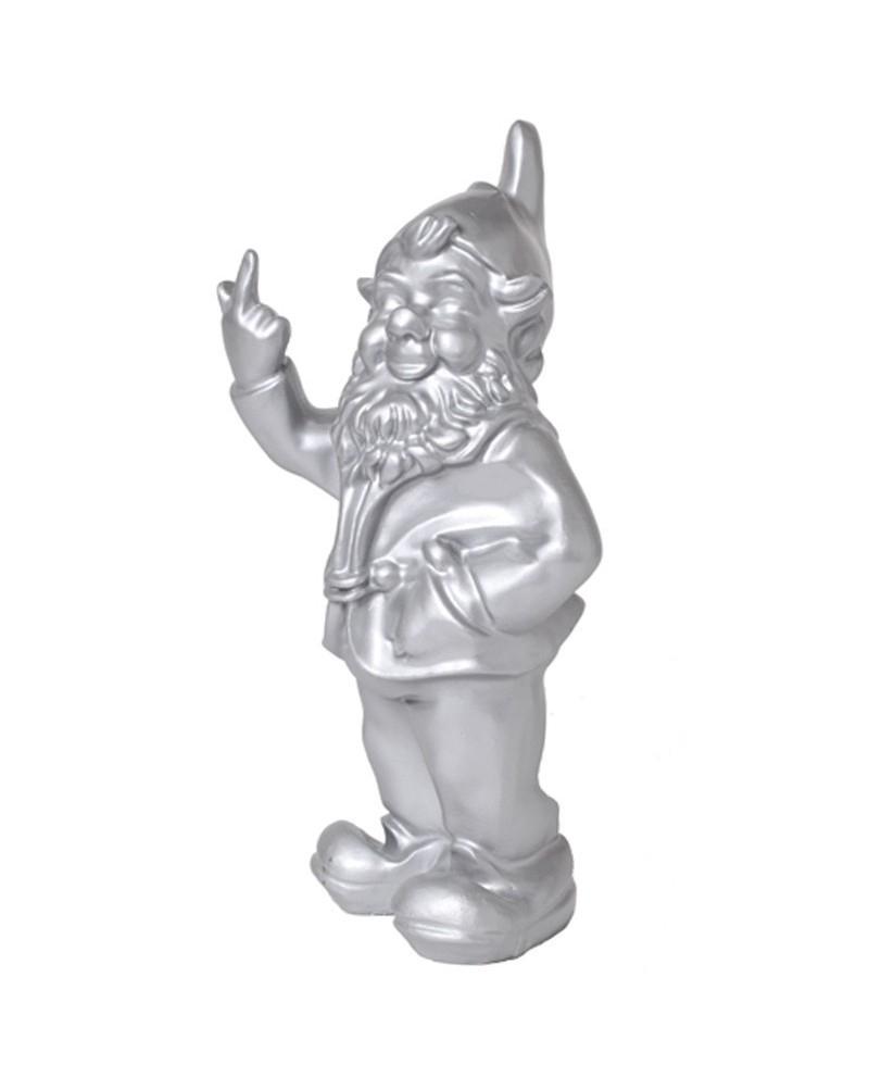 Statue En Résine Nain De Jardin Doigt D'honneur Argent - 33 ... pour Nain De Jardin Fuck