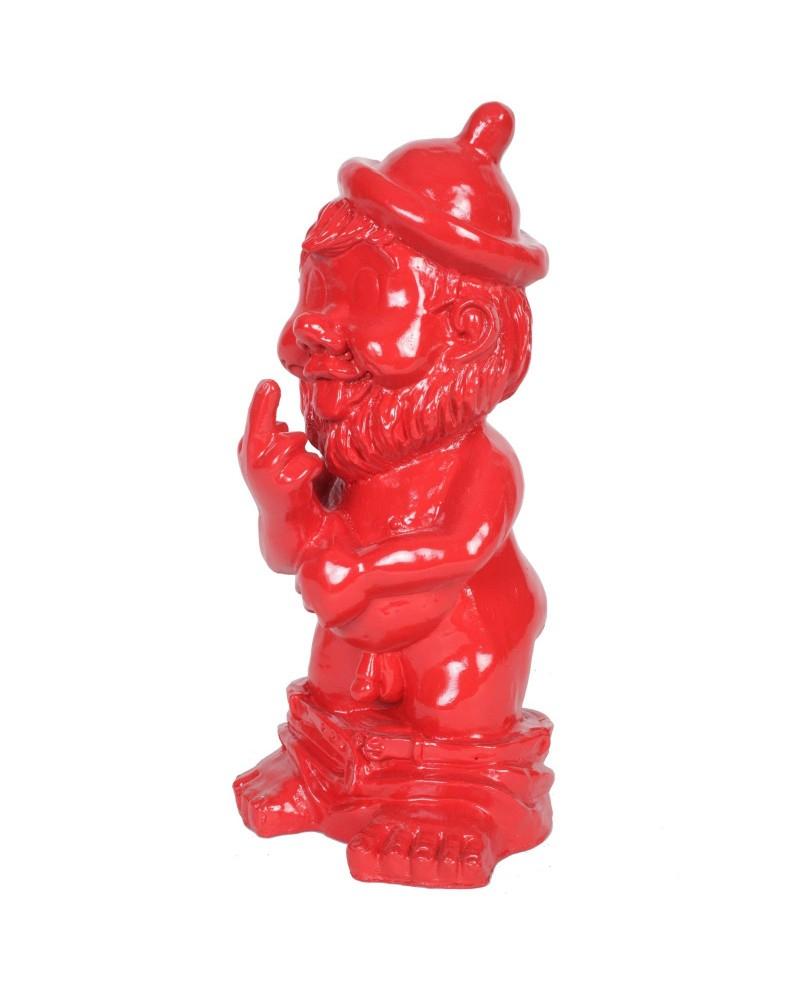 Statue En Résine Nain De Jardin Doigt D'honneur Rouge - Adam ... serapportantà Nain De Jardin Doigt D Honneur
