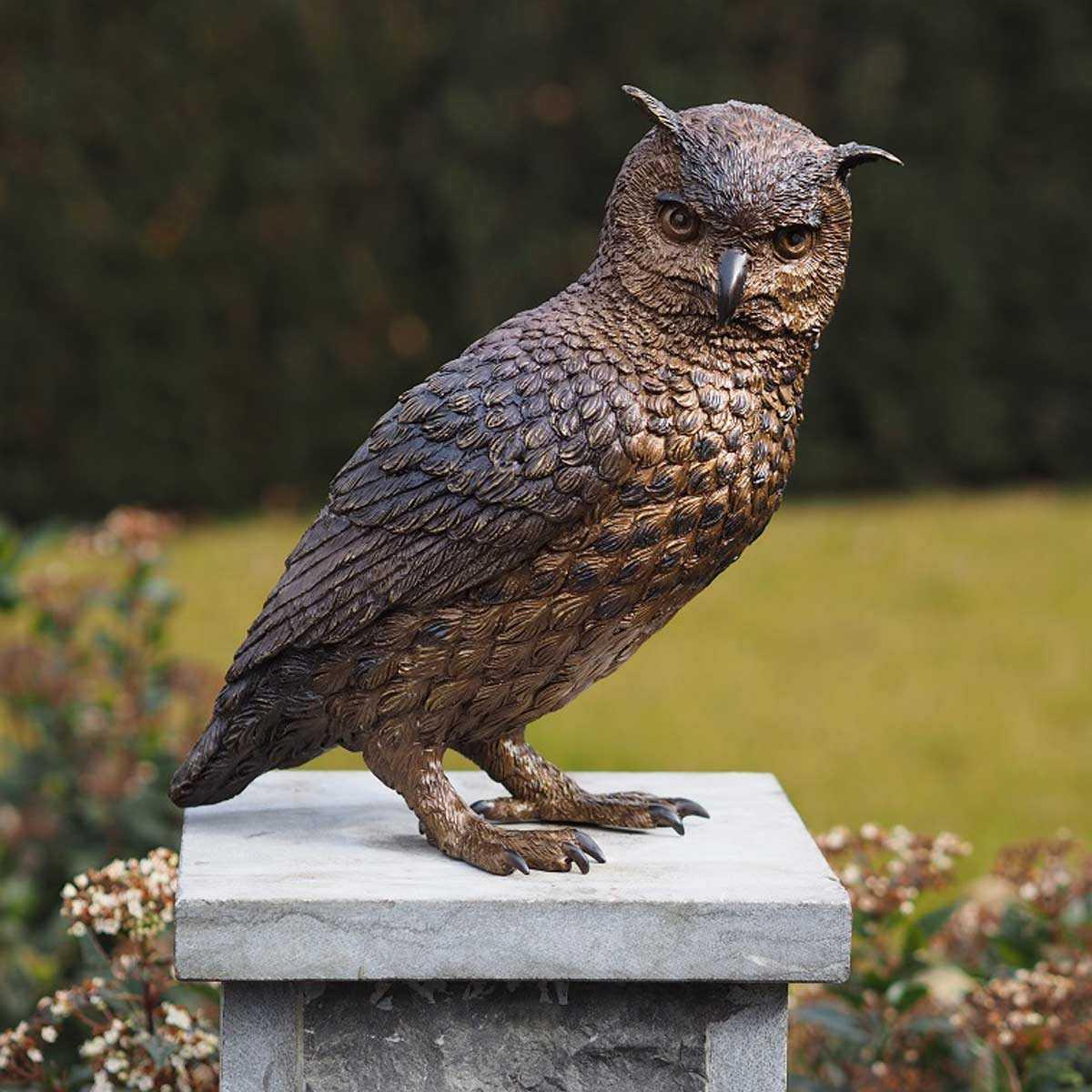 Statue Hibou Animal En Bronze H.30Cm à Jardins Animés Sculpture