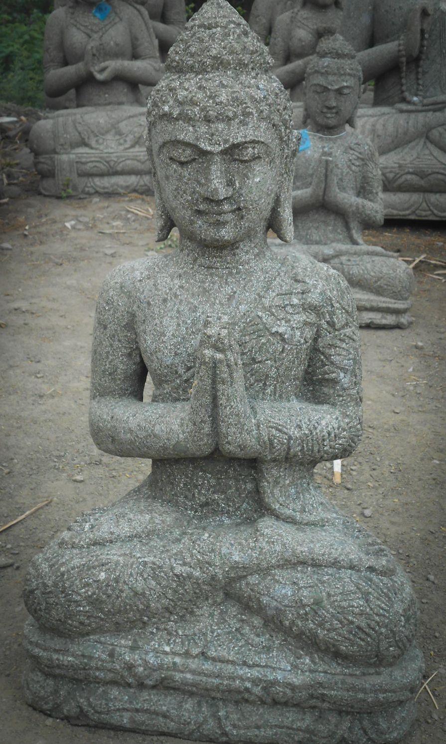 Statue Jardin Exterieur Bouddha Assis Pierre Volcanique 61 Cm à Statue Bouddha Exterieur Pour Jardin