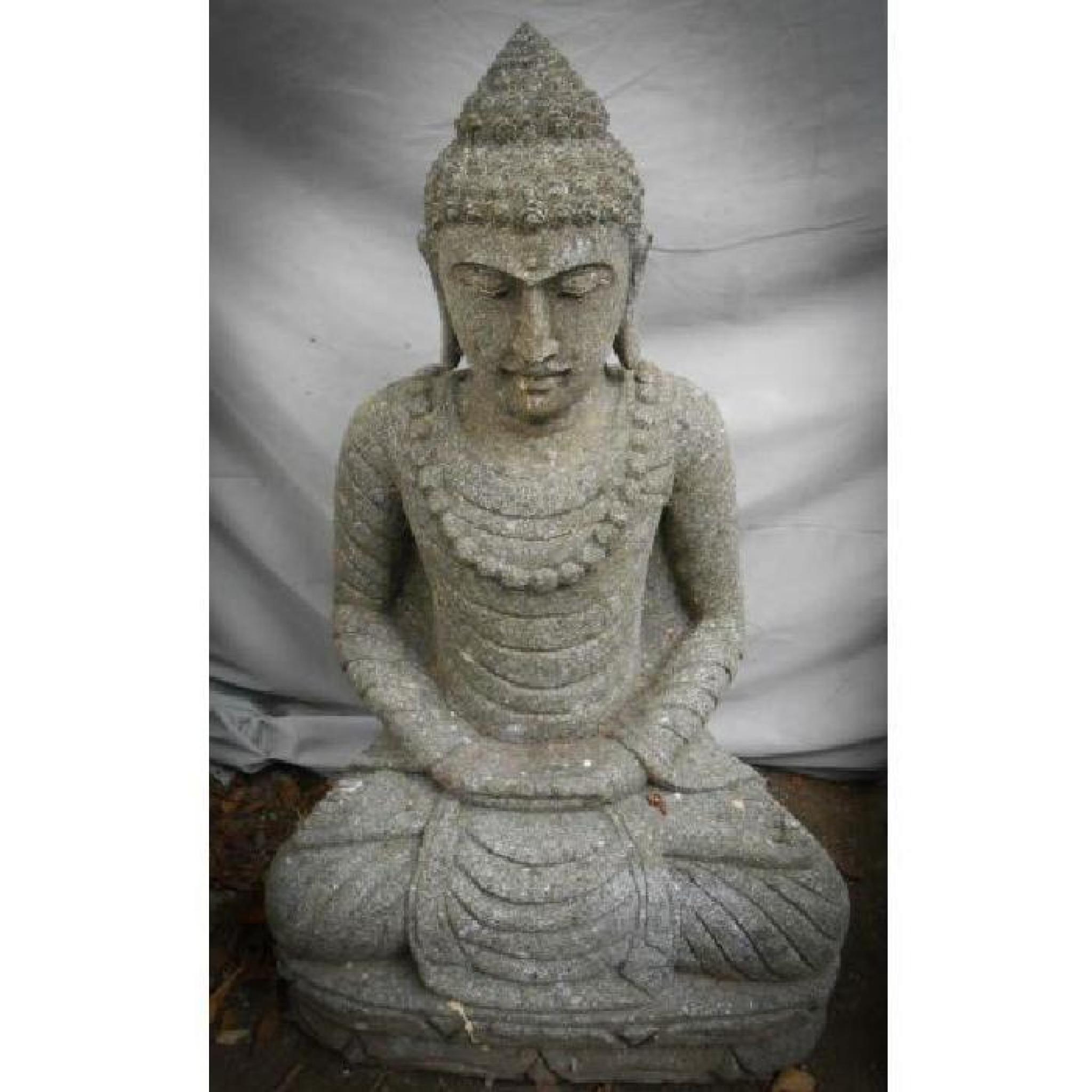 Statue Jardin Zen Exterieur Bouddha Assis Pierre Volcanique Collier 80 Cm destiné Bouddha Pour Jardin Pas Cher