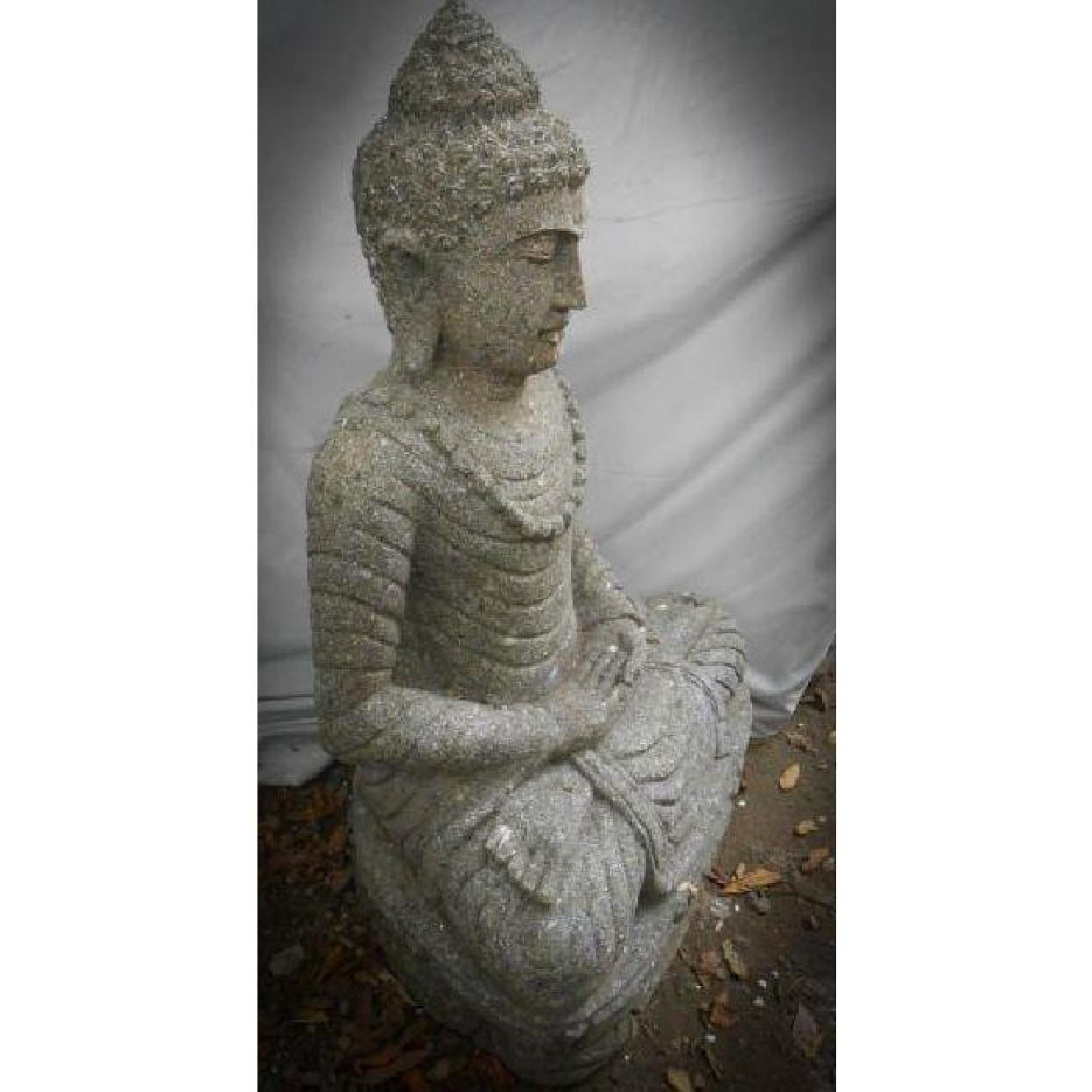 Statue Jardin Zen Exterieur Bouddha Assis Pierre Volcanique Collier 80 Cm tout Statue De Jardin Pas Cher