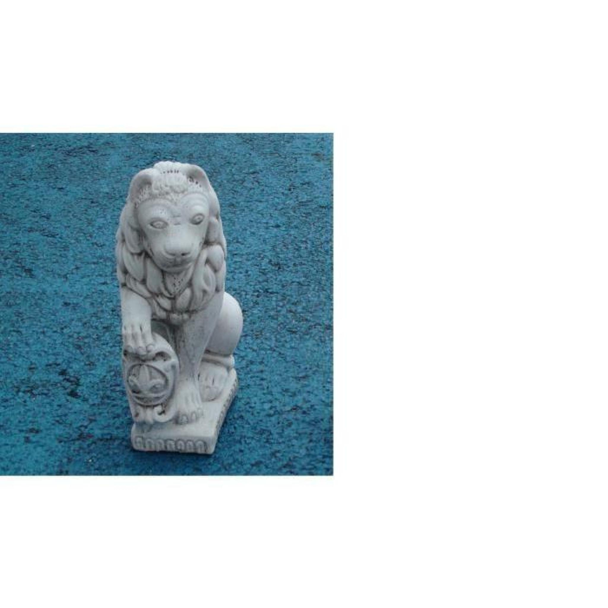 Statue Lion Avec Écusson dedans Lion En Pierre Pour Jardin