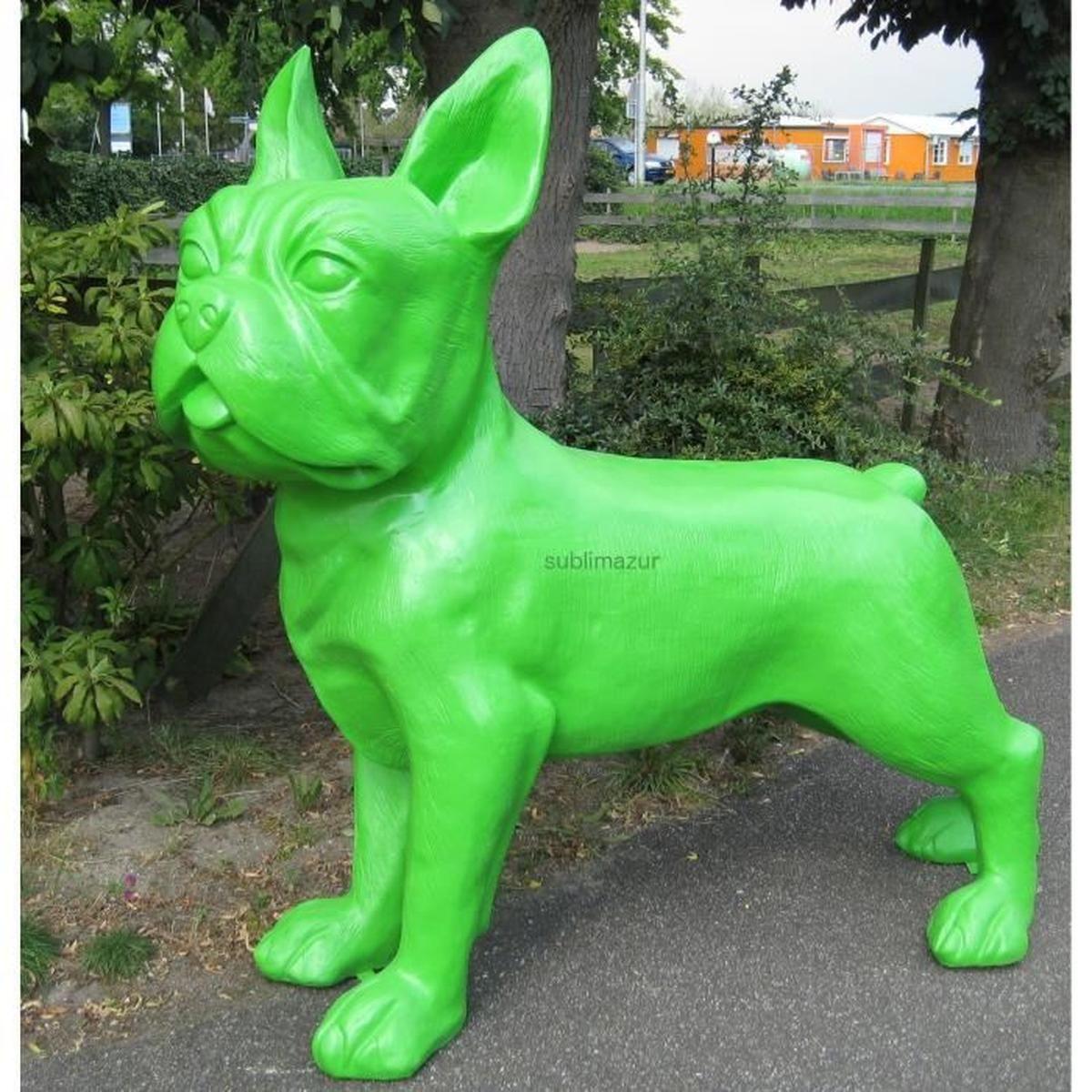 Statue Sculpture Chien Bouledogue Francais Xxl Colori Vert ... intérieur Nain De Jardin Fuck