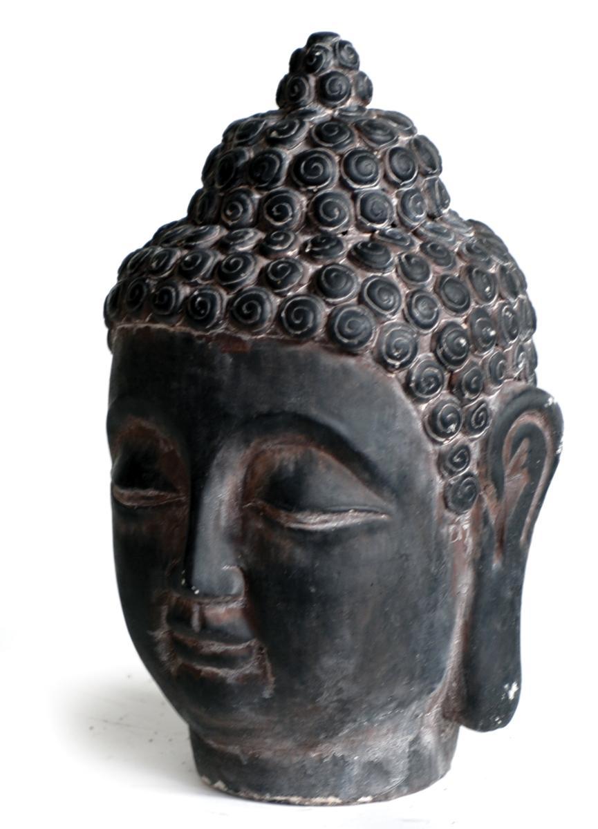 Statue Tete Bouddha Vieux Marron L 15 X 15 X H 25 Cm à Tete De Bouddha Pour Jardin