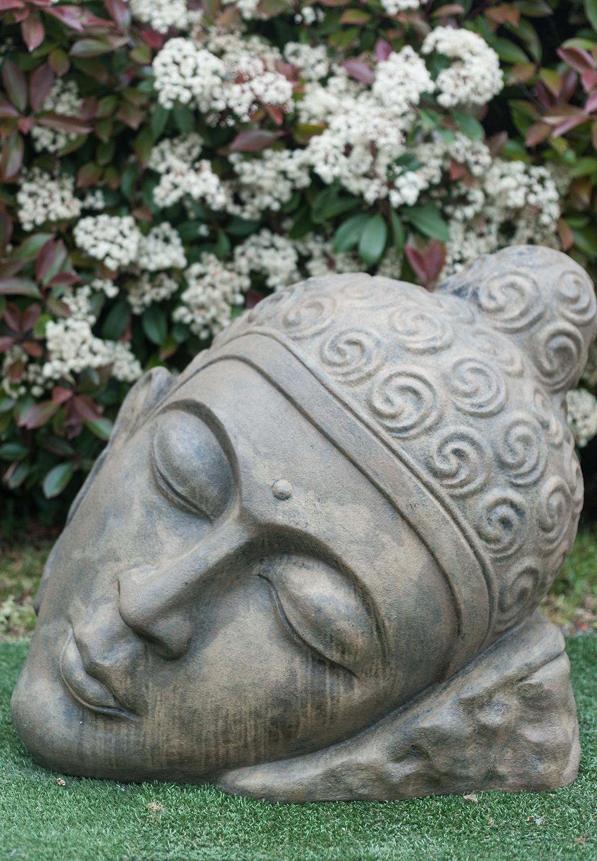 Statue Tête De Bouddha Inclinée Marron Antique 76 Cm intérieur Tete De Bouddha Pour Jardin