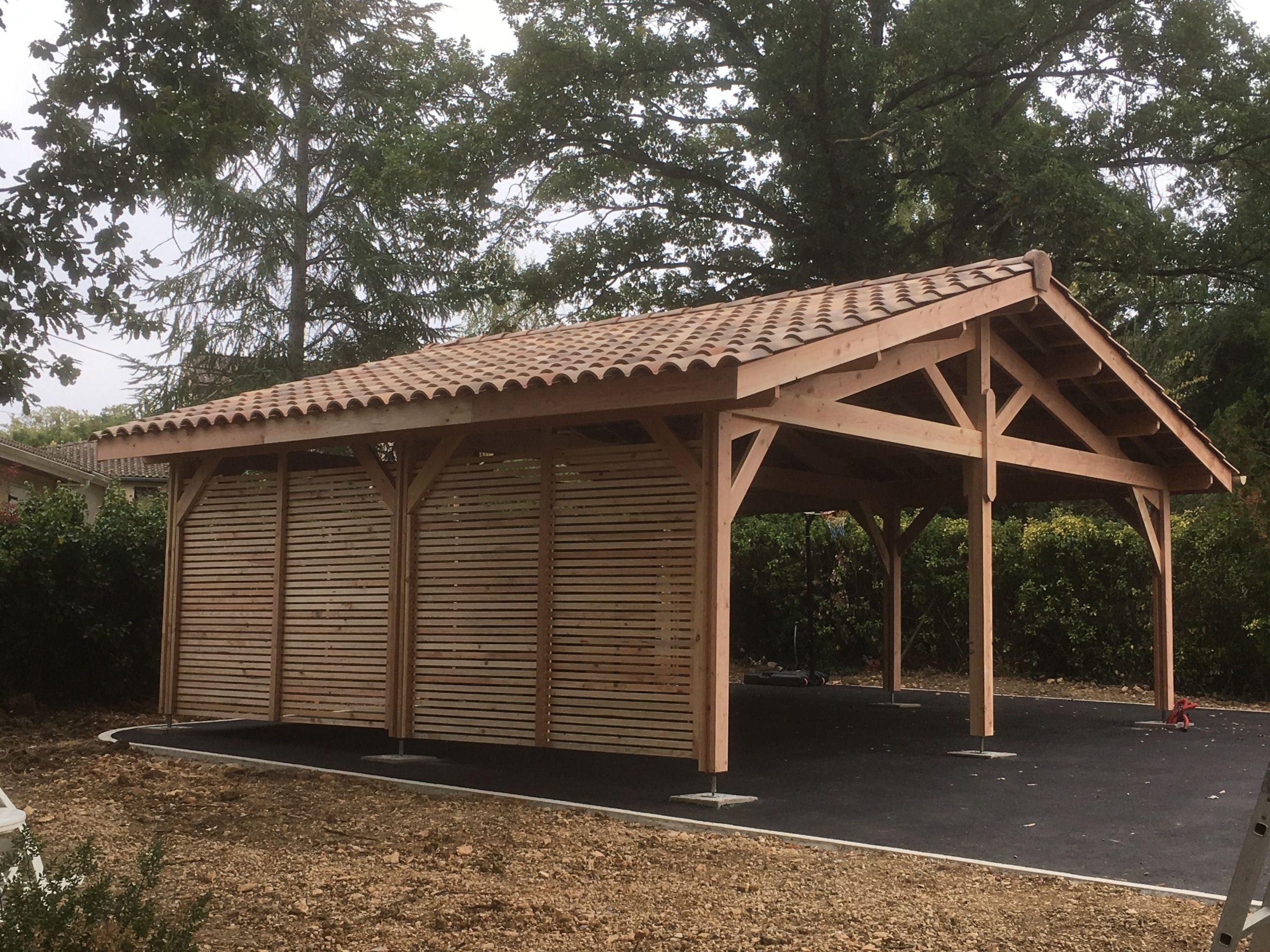 Structure 2 Pentes En Douglas Et Couverture Tuiles Terre ... avec Couverture Abris De Jardin
