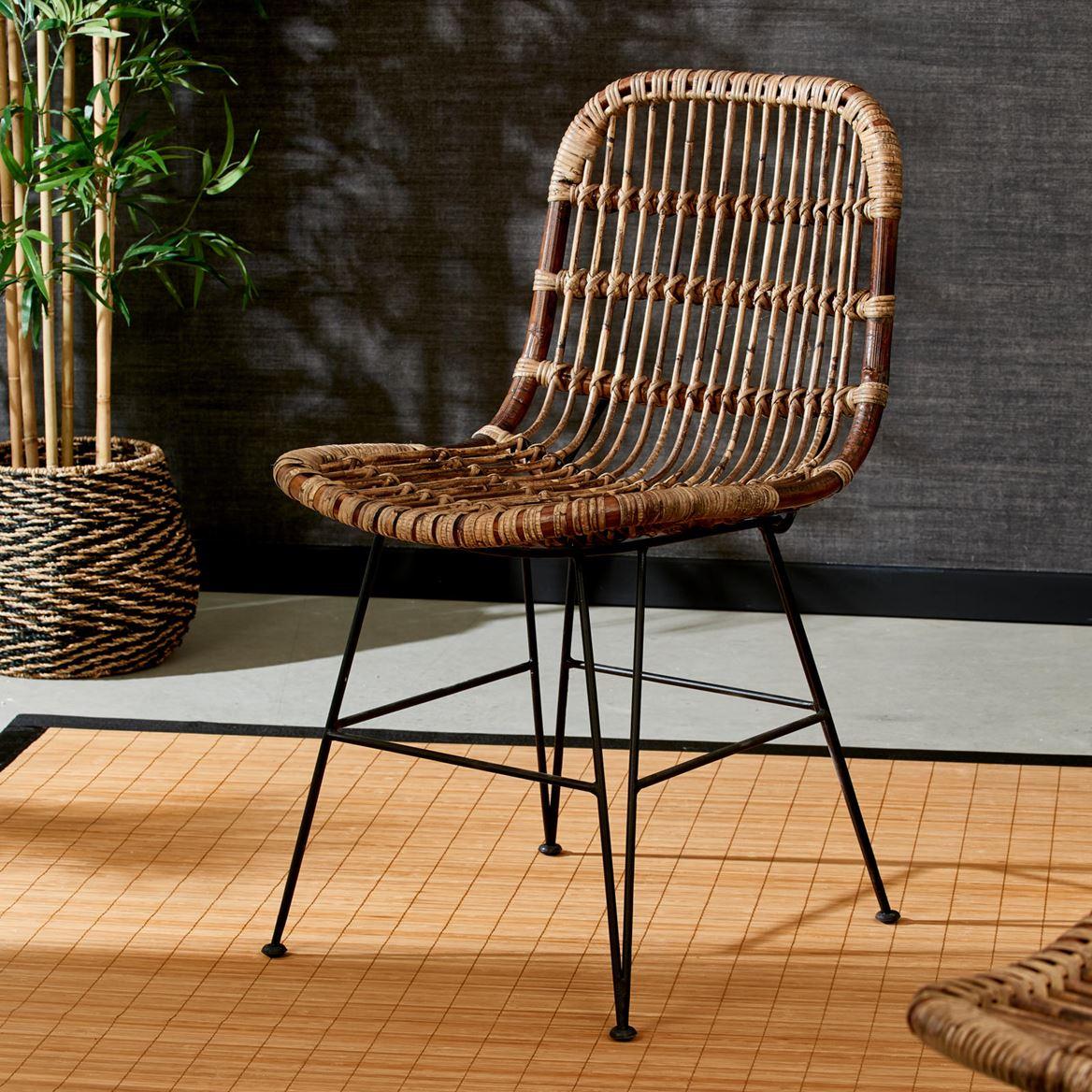 Sumatra Chaise Noir, Brun H 83 X Larg. 44 X P 55 Cm intérieur Casa Chaise De Jardin