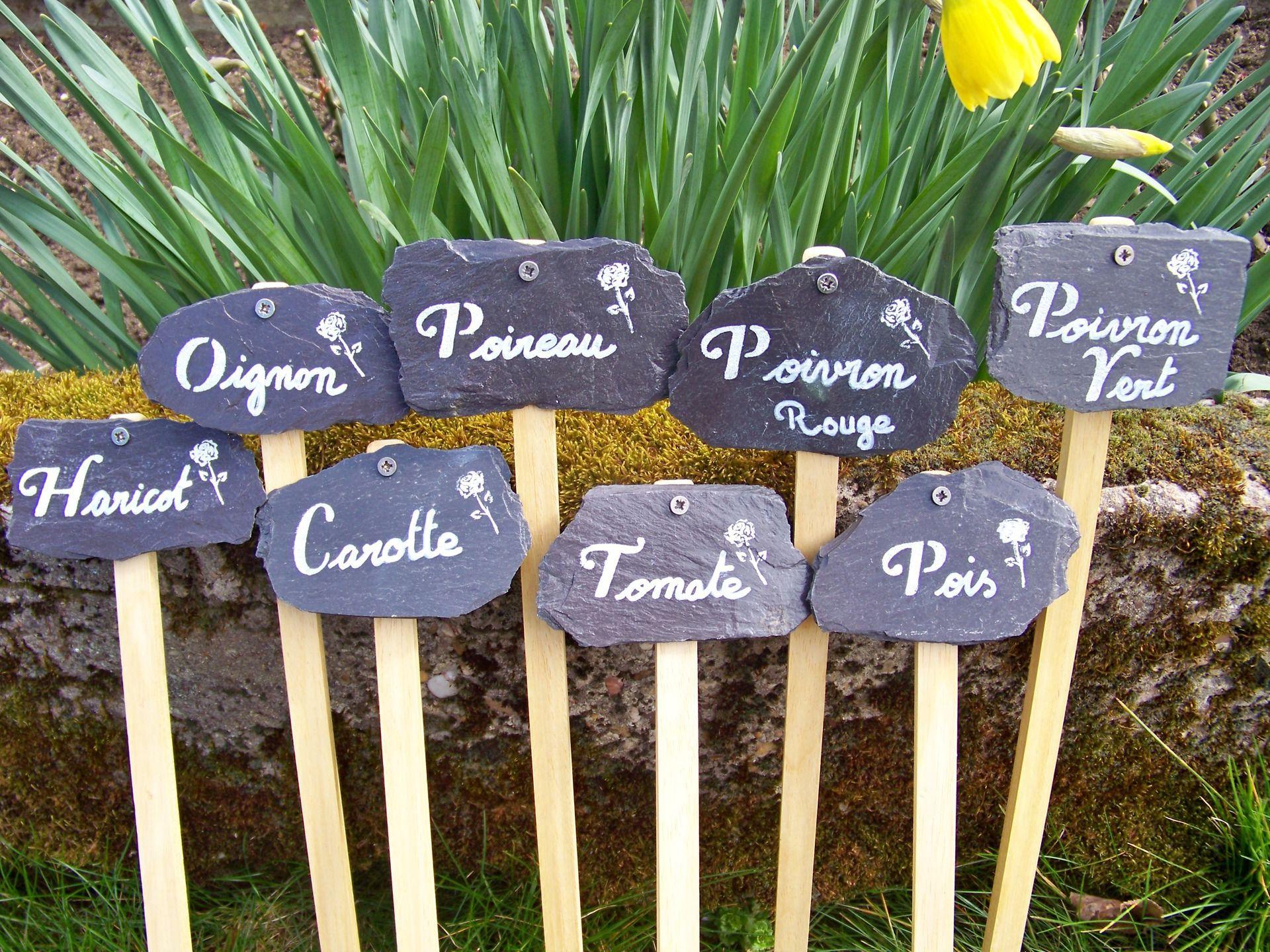 Support En Bois Pour Étiquettes Ardoise : Accessoires De ... serapportantà Etiquettes Jardin