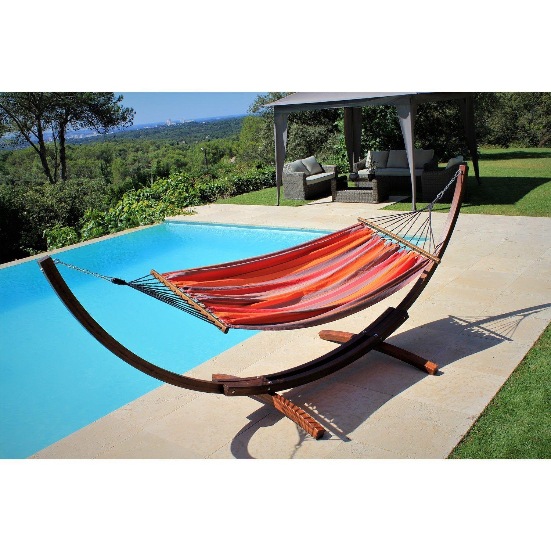 Support Et Toile De Hamac Porto Rico Rouge / Orange | Porto ... encequiconcerne Balancelle De Jardin Leroy Merlin