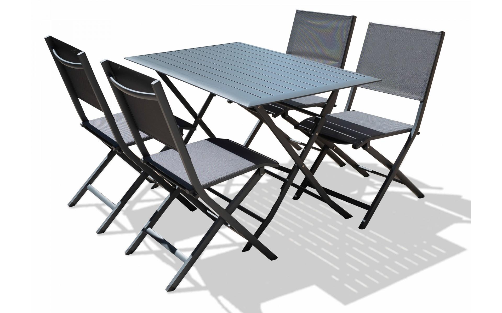 Table + 4 Chaises De Jardin Pliable En Aluminium - Top Déco concernant Table Et Chaise De Jardin Solde