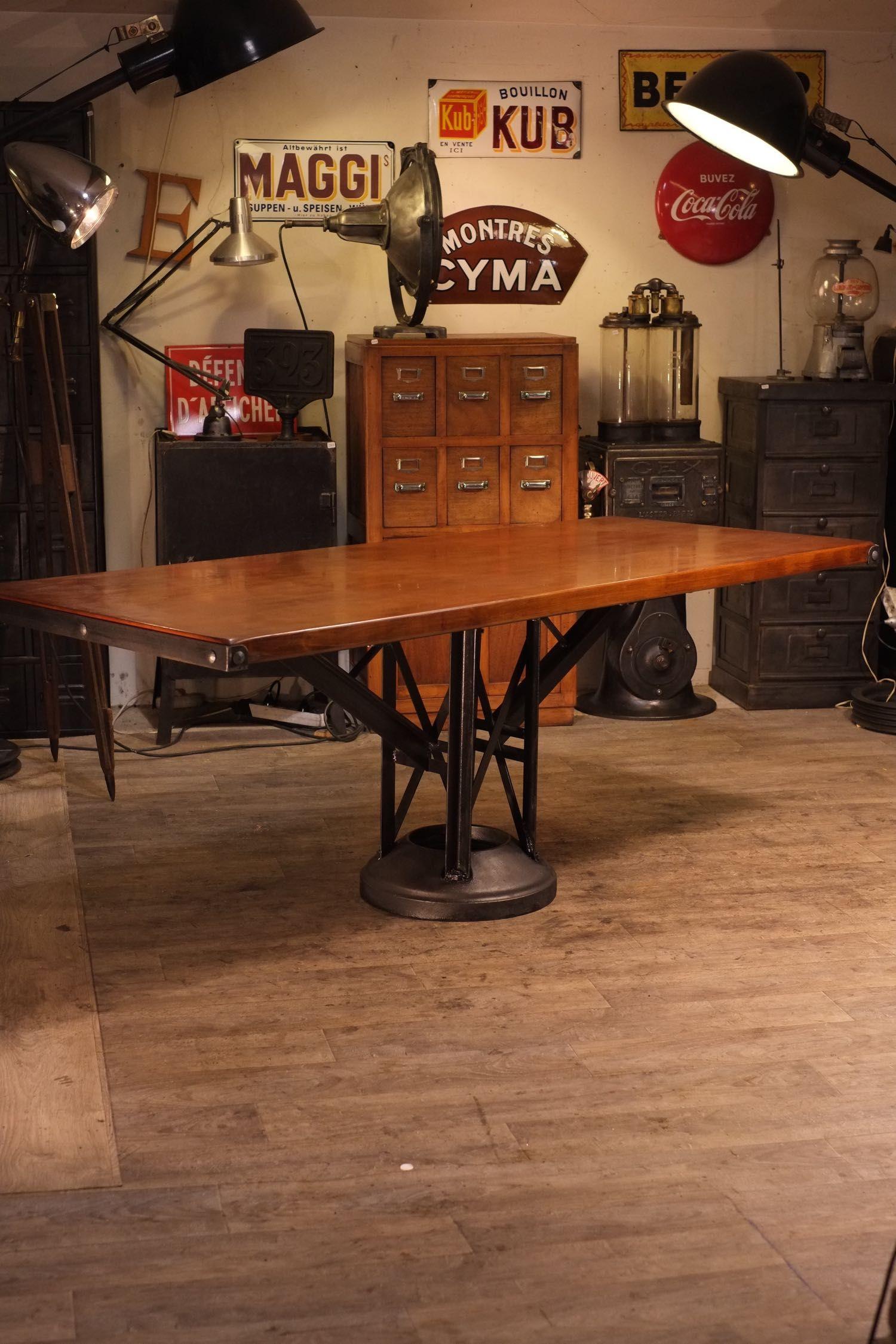 Table Ancienne Pied Fonte Deco Meuble Industriel | Mobilier ... encequiconcerne Salon De Jardin En Fonte Ancien