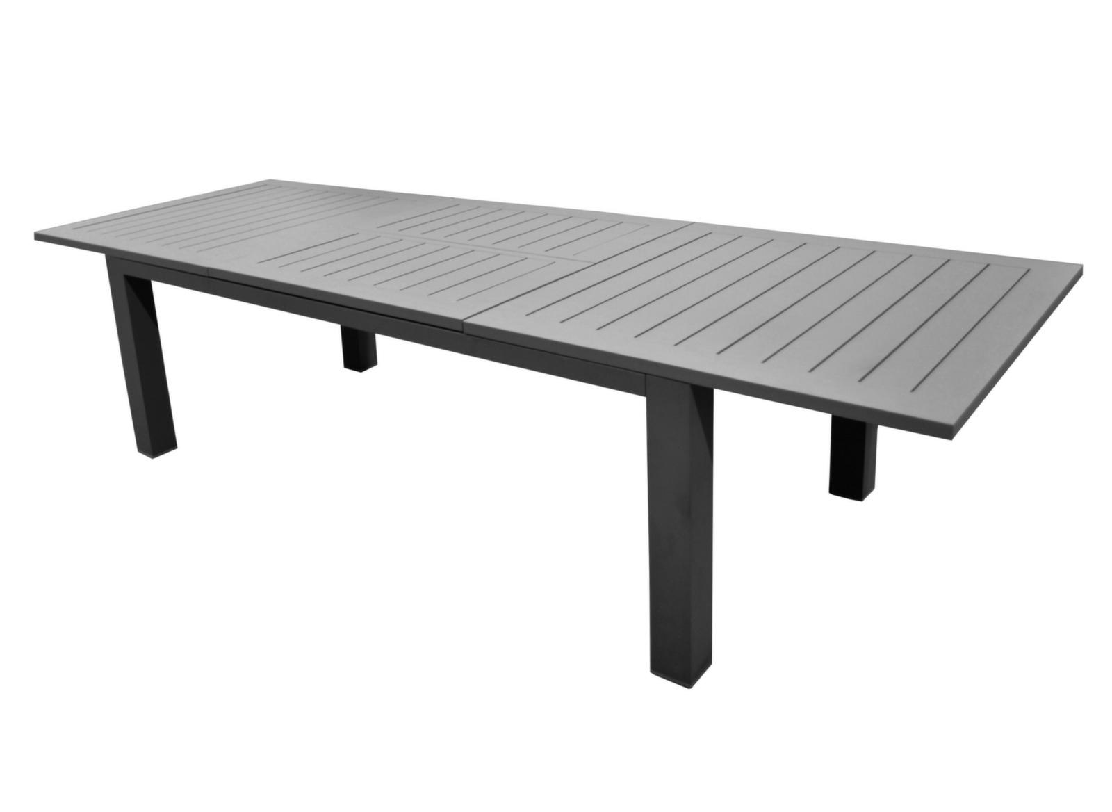Table Aurore 214/311 Cm (Finition Brush) avec Table De Jardin En Aluminium Avec Rallonge