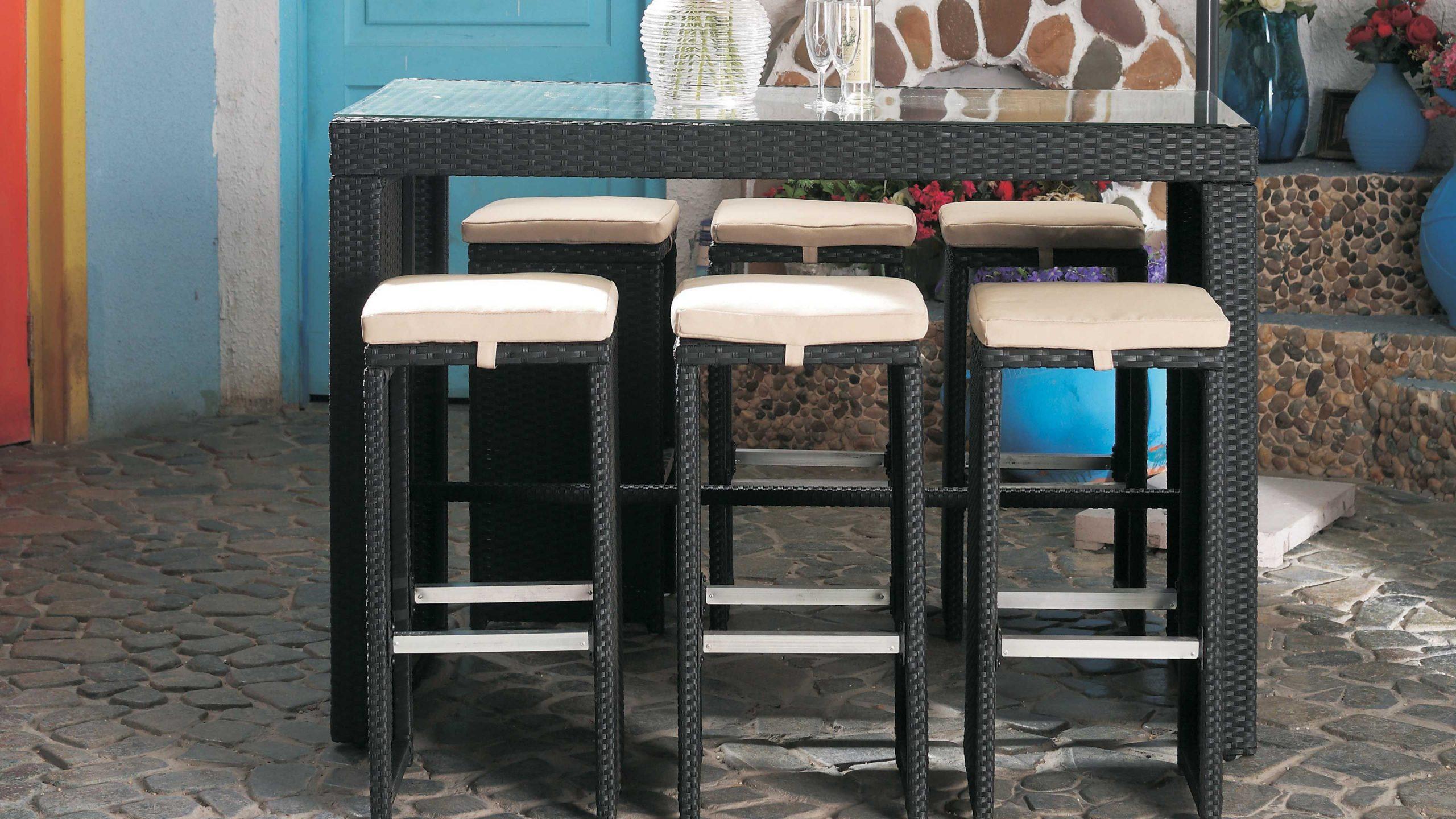 Table Bar De Jardin En Résine Tressée concernant Salon De Jardin Table Haute