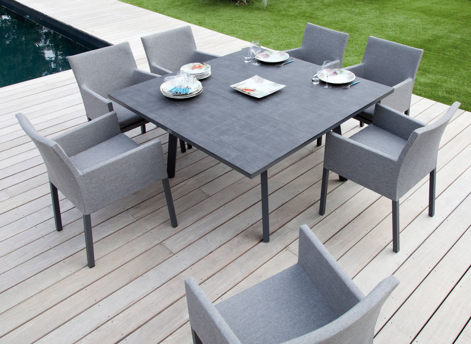 Table Barsa 100/140 X 140 Cm, Plateau Trespa® à Table De Jardin Carre