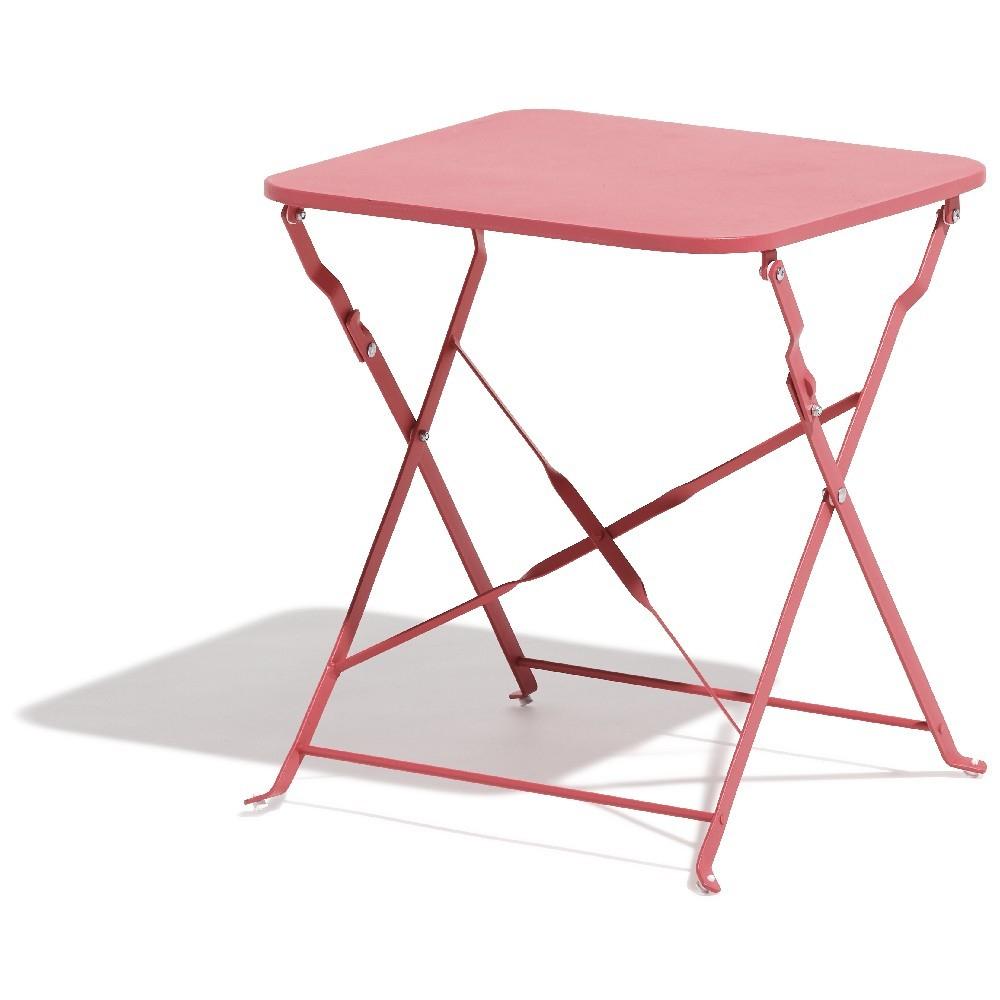 Table Basse Carrée Boston Pliante Rose concernant Table De Jardin Metal Pliante