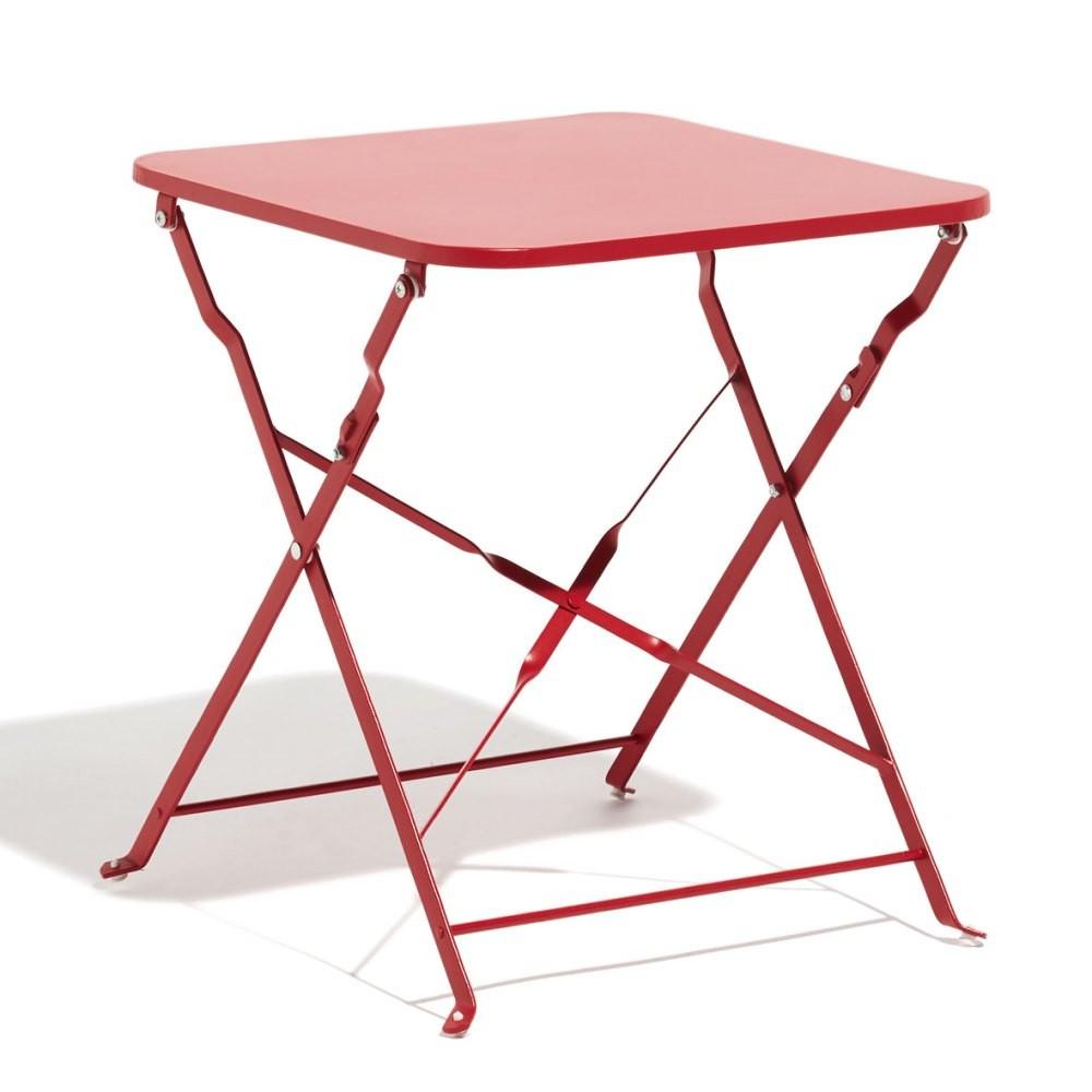 Table Basse De Jardin Carrée Métal Rouge concernant Table De Jardin En Metal