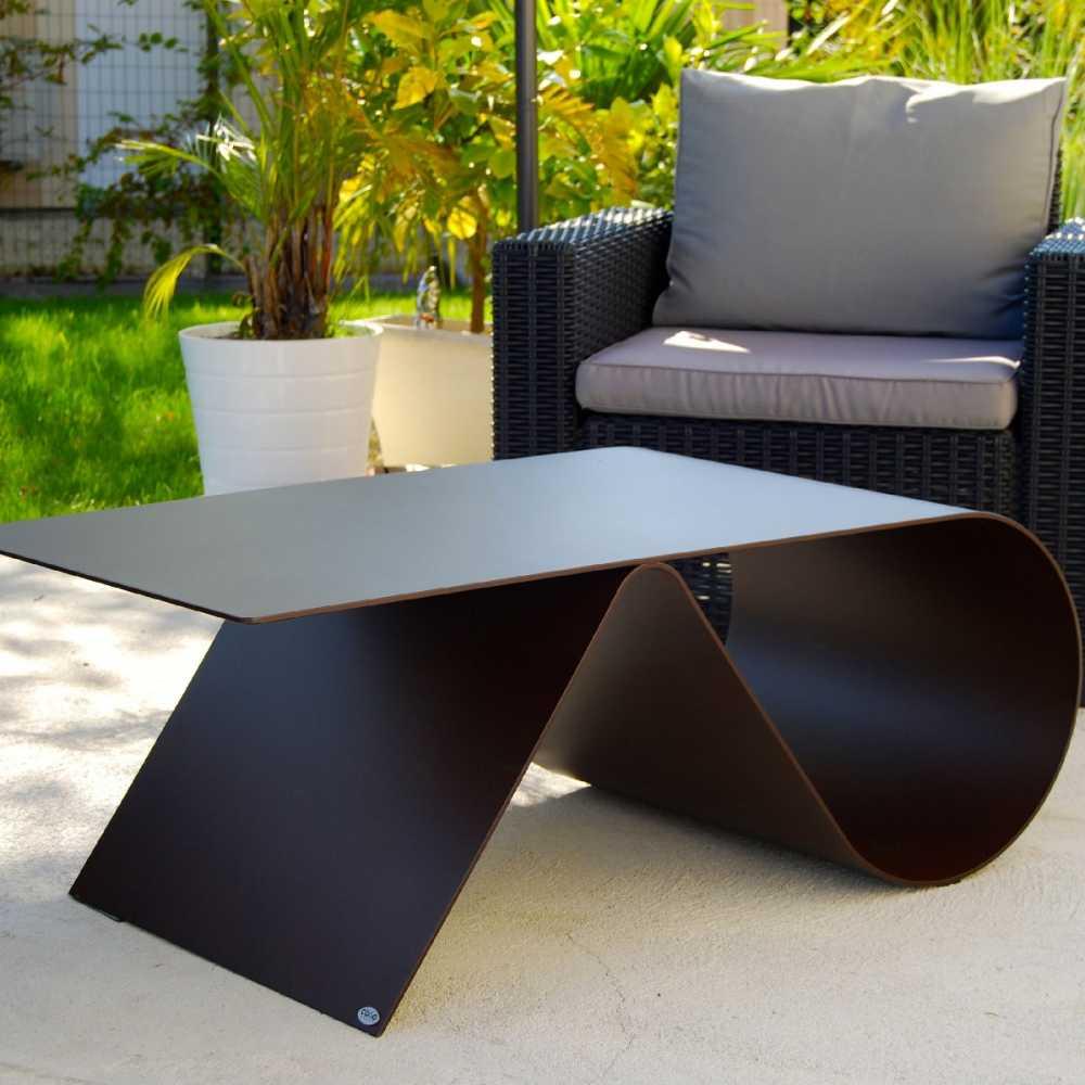 Table Basse De Jardin De Luxe En Acier Personnalisable Design Goupille 105  X 55 Cm destiné Mobilier Jardin Haut De Gamme