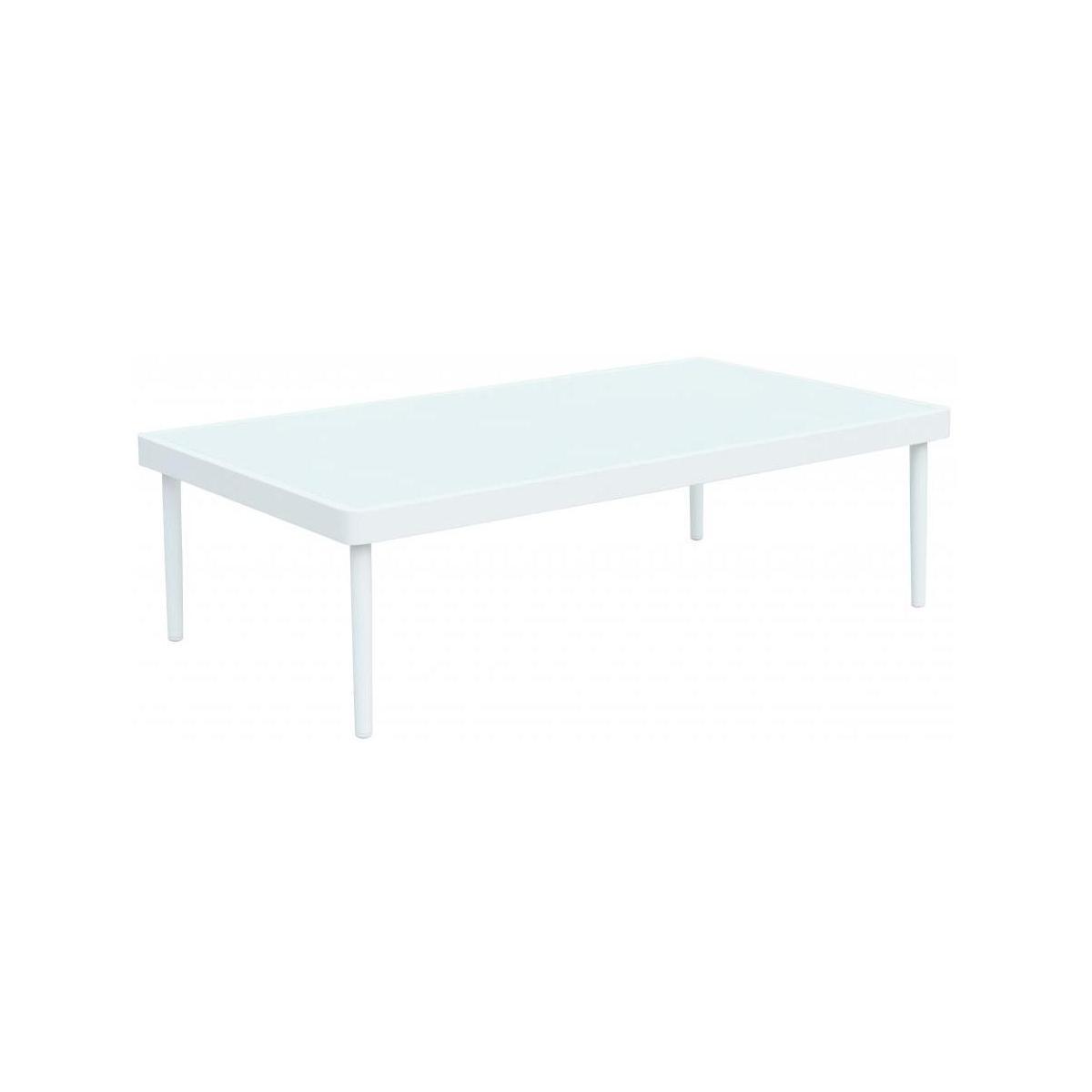 Table Basse De Jardin En Aluminium Et Verre Trempé - Blanc tout Table De Jardin Aluminium Et Verre