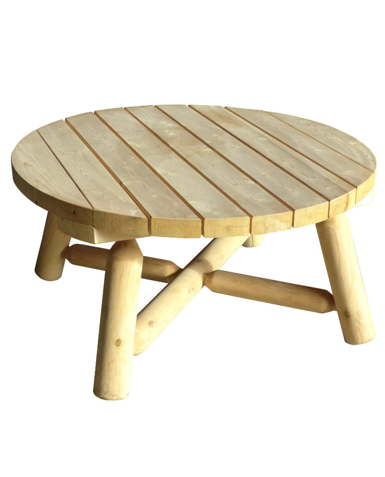 Table Basse De Jardin En Bois De Cèdre Blanc - Grand Modèle avec Table De Jardin Ronde En Bois
