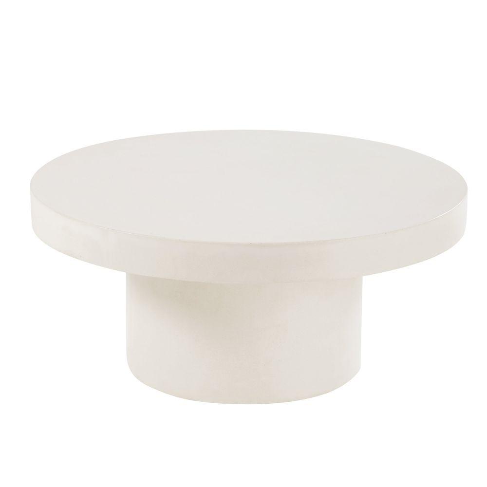Table Basse De Jardin Ronde En Béton Blanc | Table Basse ... dedans Table De Jardin En Ciment