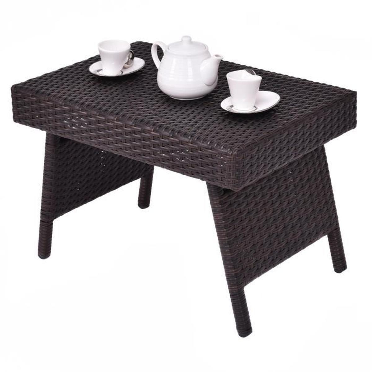 Table Basse De Table Thé Table Pliante Table En Osier Jardin ... avec Table Basse De Jardin Pliante