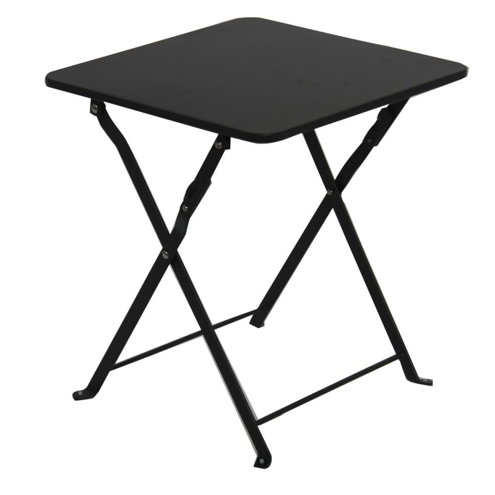 Table Basse Pliante Danemark L.40 X L.40 X H.45 Cm Anthracite avec Table Basse De Jardin Pliante