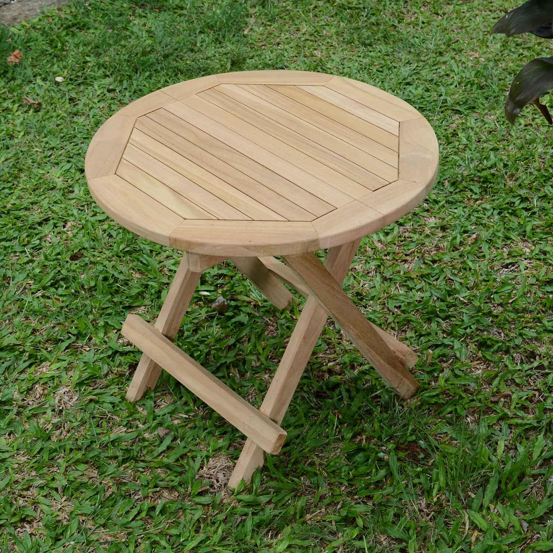 Table Basse Pliante Ronde Teck Kuta 50Cm dedans Table Basse De Jardin Pliante