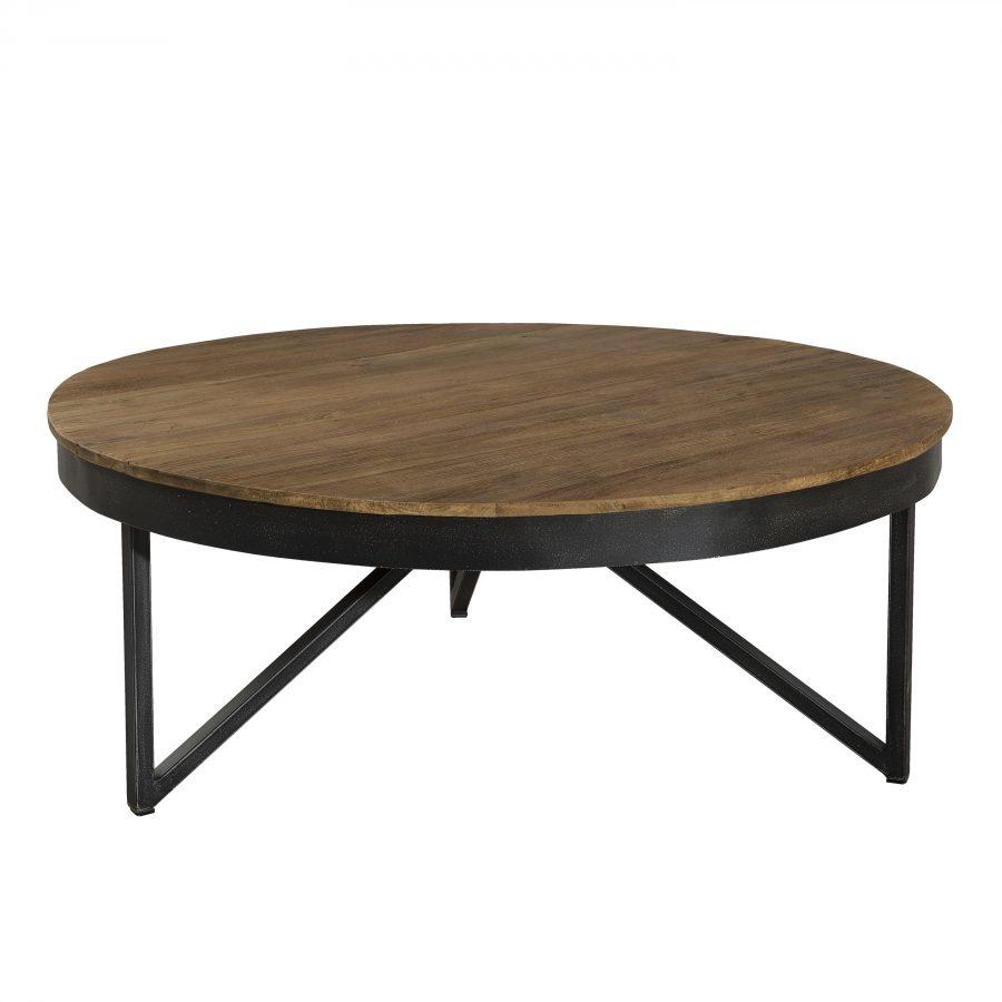 Table Basse Ronde Bois Et Métal 90X90Cm Sixtine serapportantà Table De Jardin Ronde En Bois