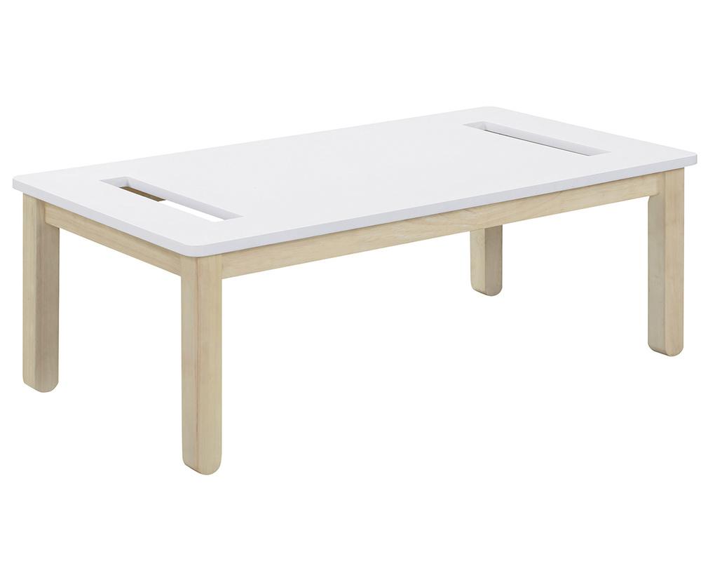 Table Basse Scandinave Avec Banc Intégré Blanc Et Bois Clair ... à Table De Jardin En Bois Avec Banc Integre
