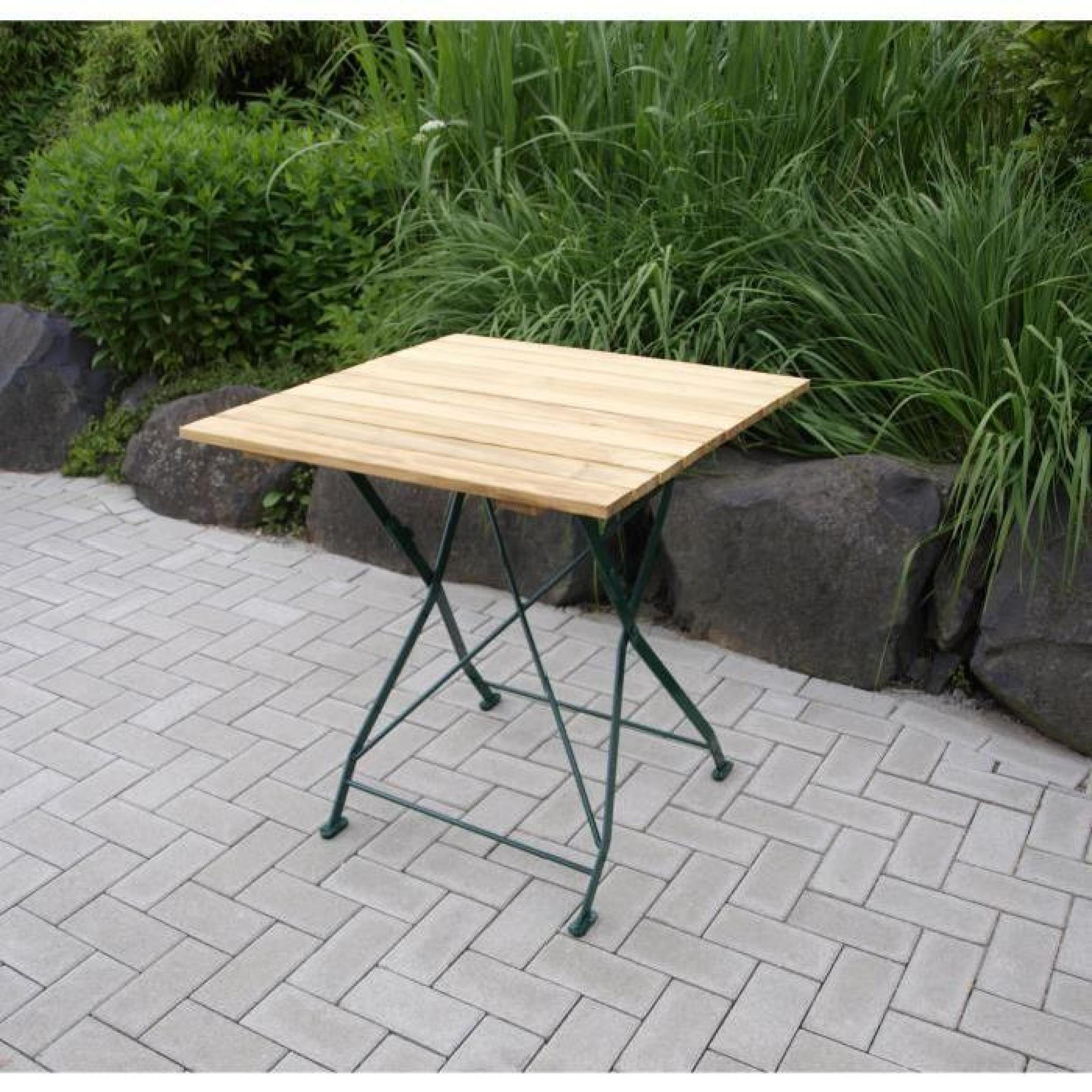Table Carré Pliante Salon De Jardin 70X70Cm Acier Plat Zingué Et Bois Bad  Tölz encequiconcerne Table De Jardin En Bois Pliante Pas Cher