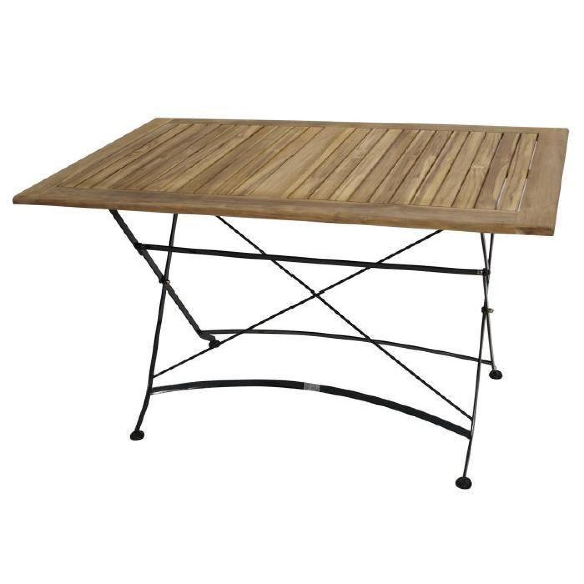 Table Carré Pliante Salon De Jardin 75X125Cm Acier Plat Noir Et Bois Teak  Jakarta concernant Table De Jardin En Bois Pliante Pas Cher