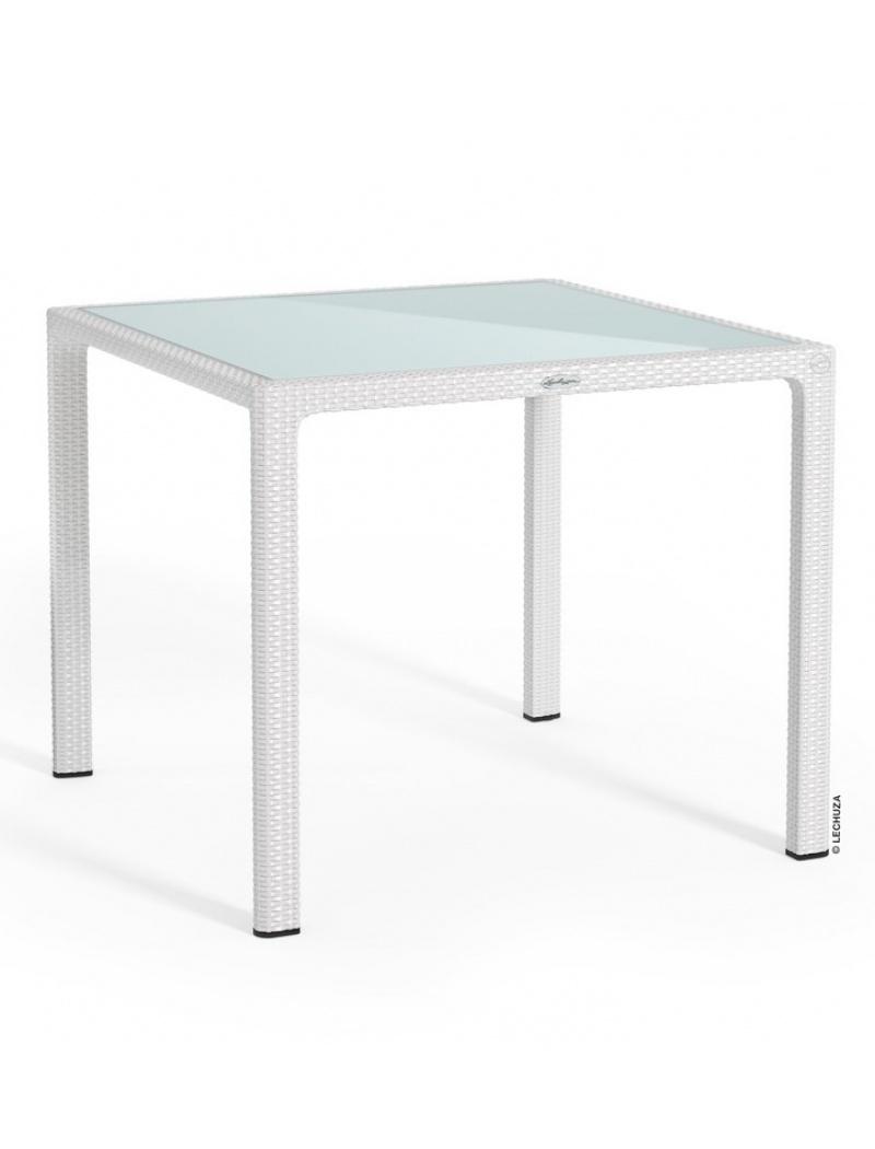 Table Carrée Blanc Plateau Verre dedans Table De Jardin Dessus Verre