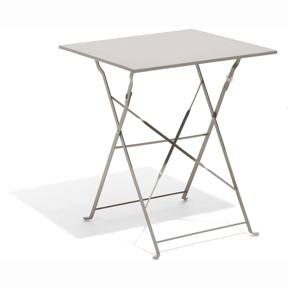 Table Carrée Boston Pliante Taupe 2 Personnes concernant Table De Jardin Metal Pliante