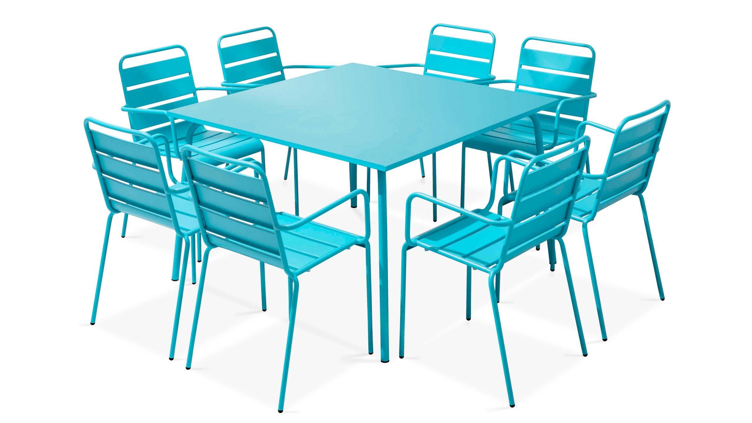 Table Carrée De Jardin En Métal 8 Places | Oviala intérieur Table De Jardin Carre