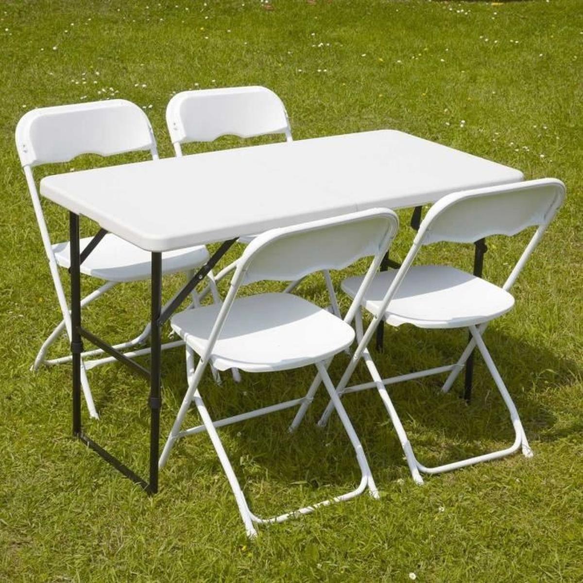 Table D'appoint Pliable Et 4 Chaises Pliantes - Achat ... à Table Jardin 4 Personnes