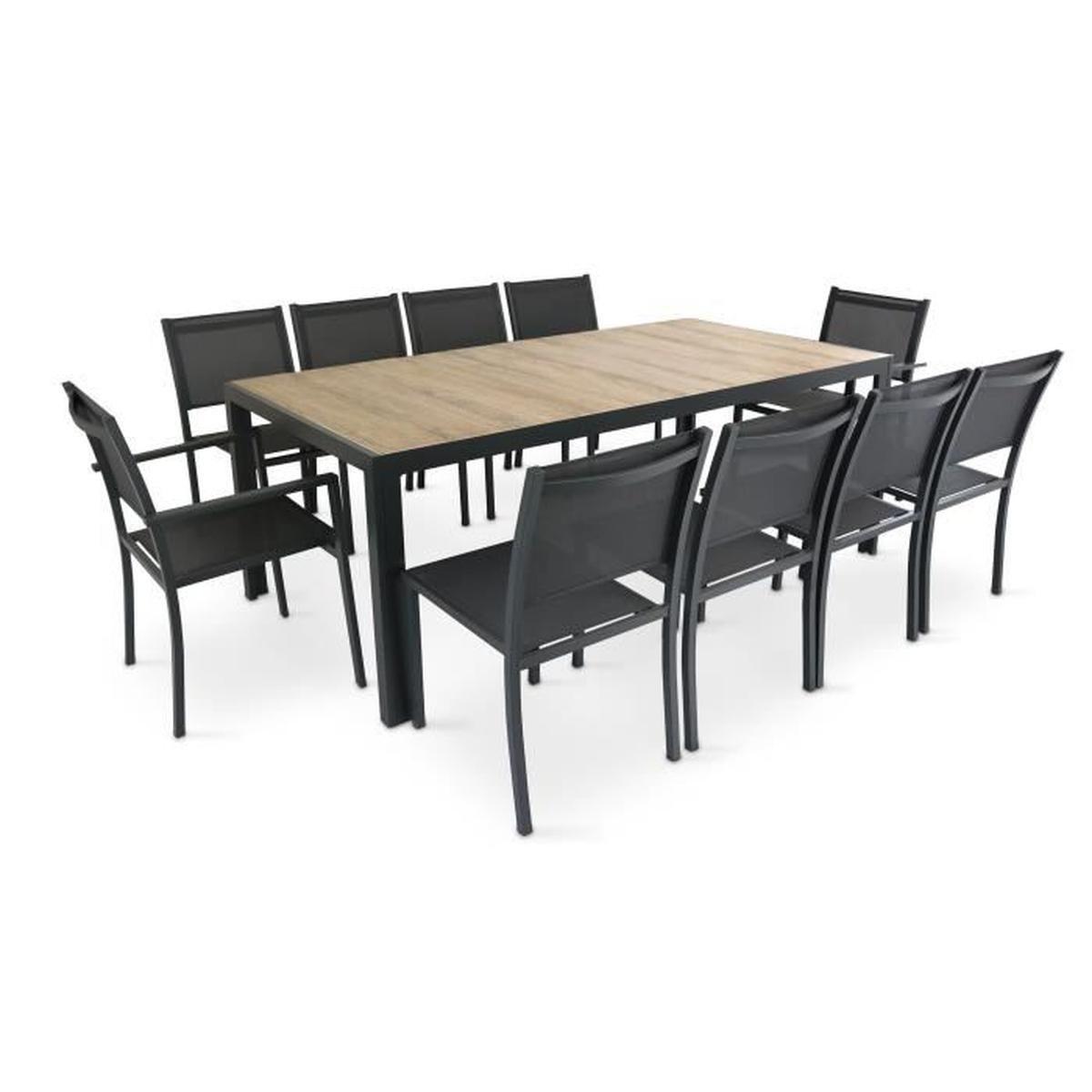 Table De Jardin 10 Places Aluminium Et Céramique - Ensemble ... destiné Salon De Jardin Vente Unique