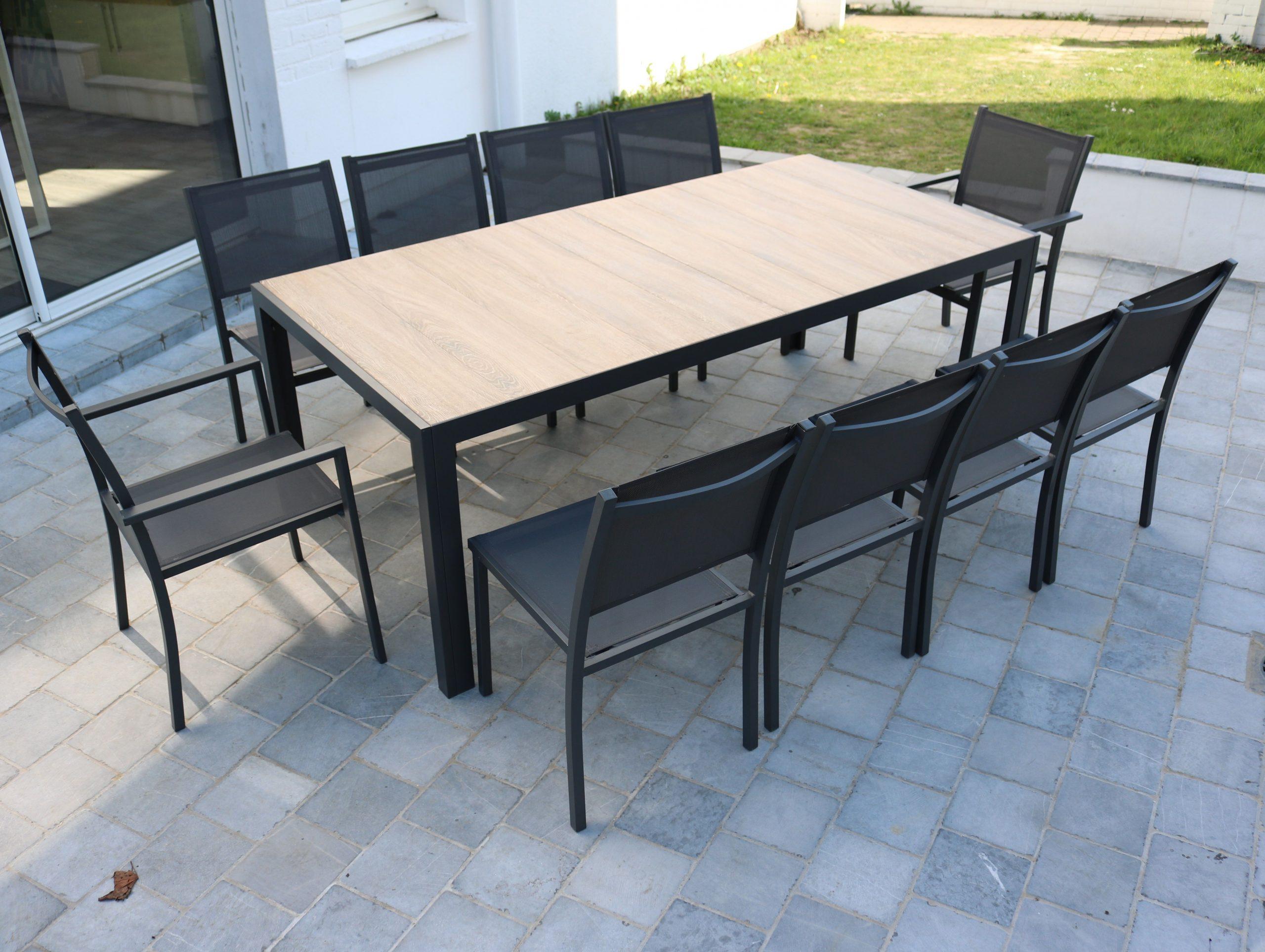 Table De Jardin 10 Places Aluminium Et Céramique - Gris ... tout Table De Jardin 10 Personnes