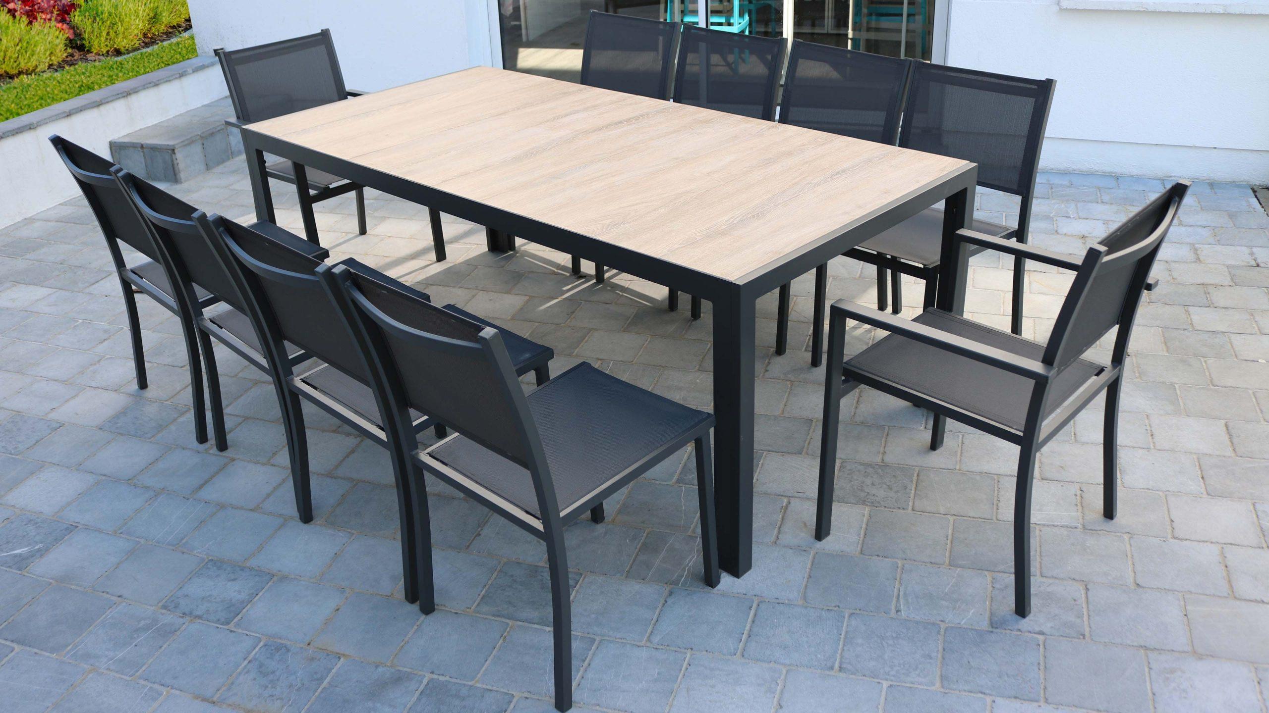 Table De Jardin 10 Places Aluminium Et Céramique | Oviala à Table Céramique Jardin