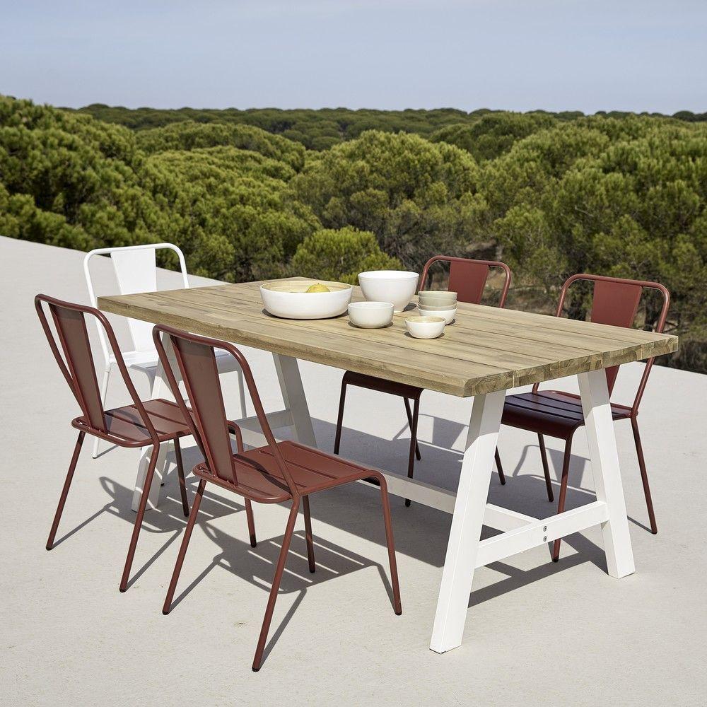 Table De Jardin 6/8 Personnes En Acacia Et Métal Blanc L180 ... encequiconcerne Table Jardin 6 Personnes