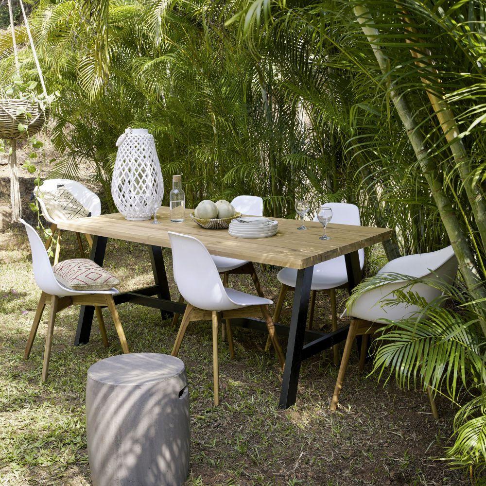 Table De Jardin 6/8 Personnes En Acacia Et Métal Noir L180 ... pour Table De Jardin Maison Du Monde