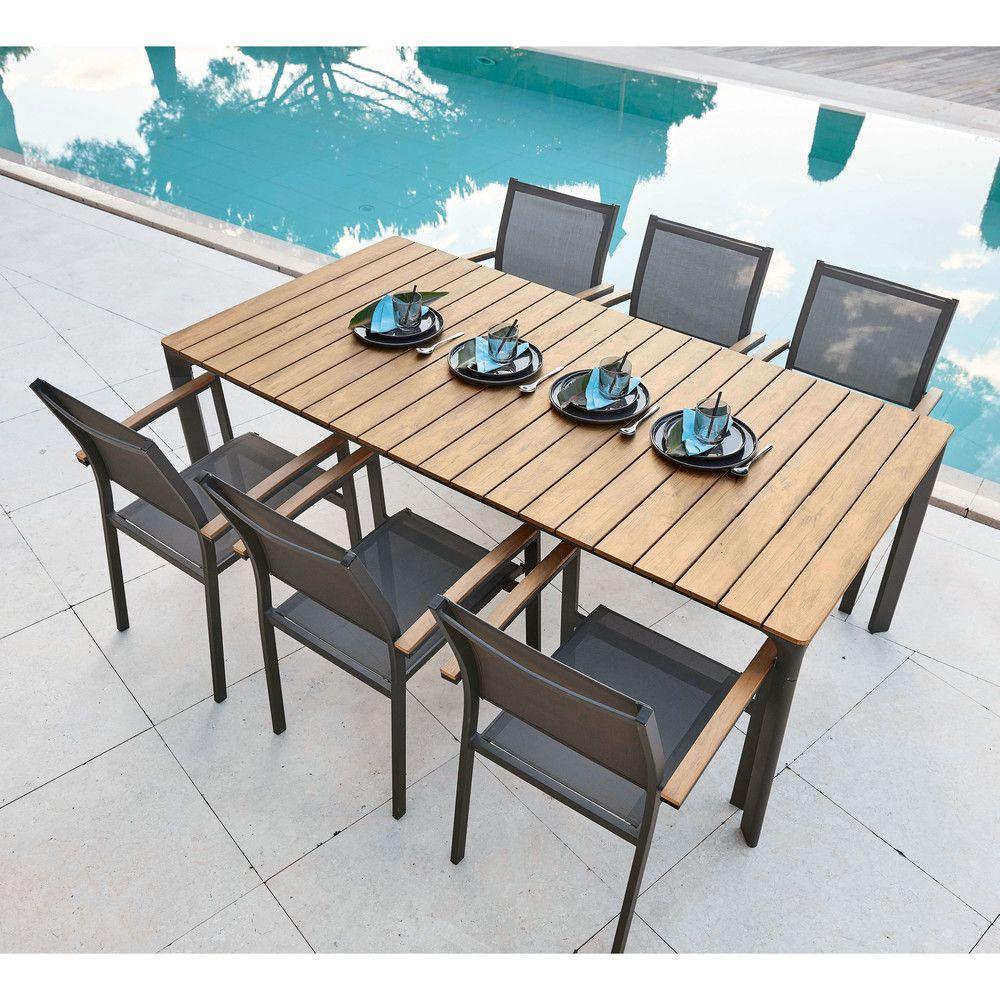 Table De Jardin 6/8 Personnes En Composite Et Aluminium L200 ... serapportantà Table De Jardin Aluminium Et Composite