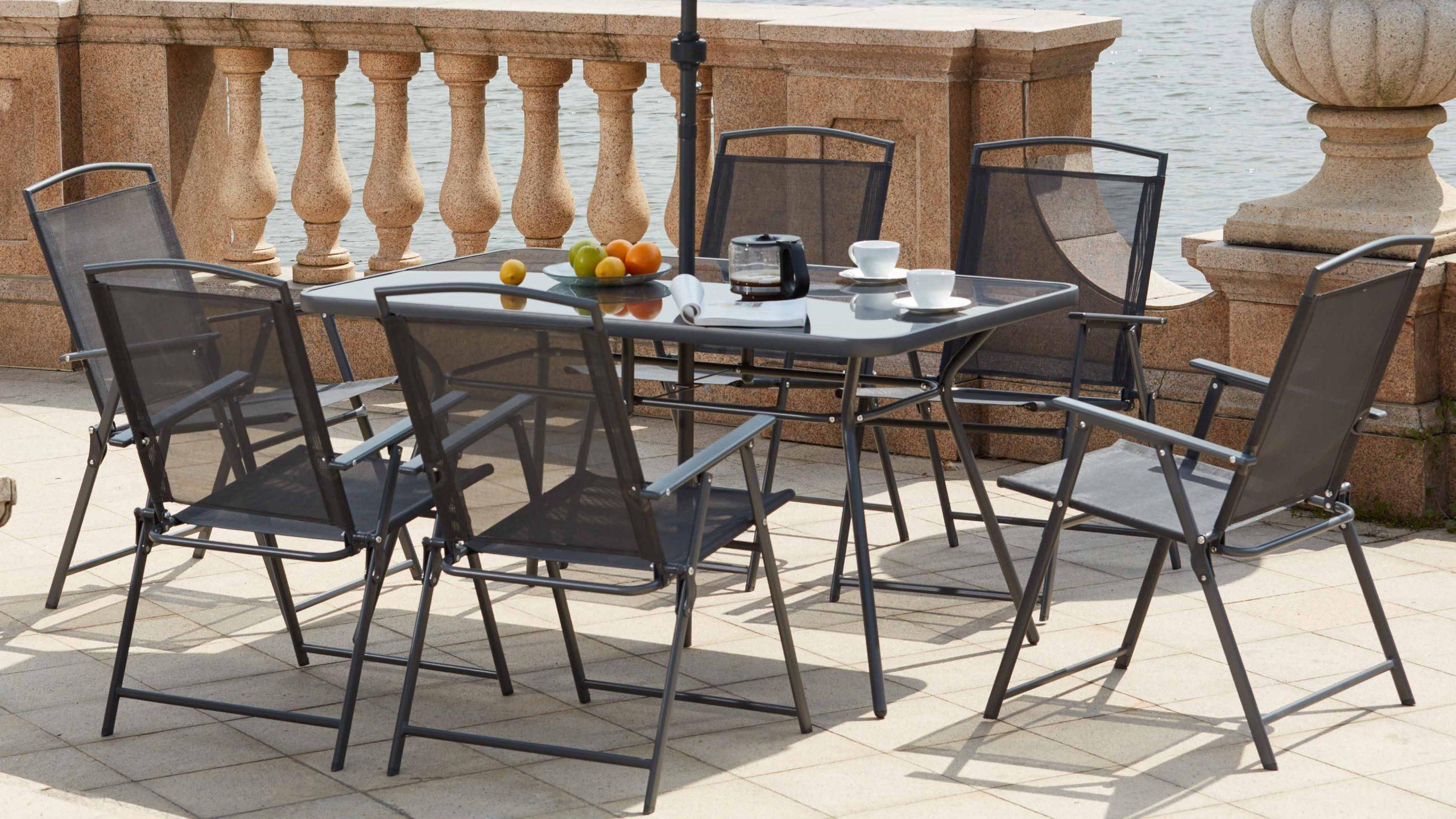 Table De Jardin 6 Chaises Et 1 Parasol concernant Table Jardin 6 Personnes