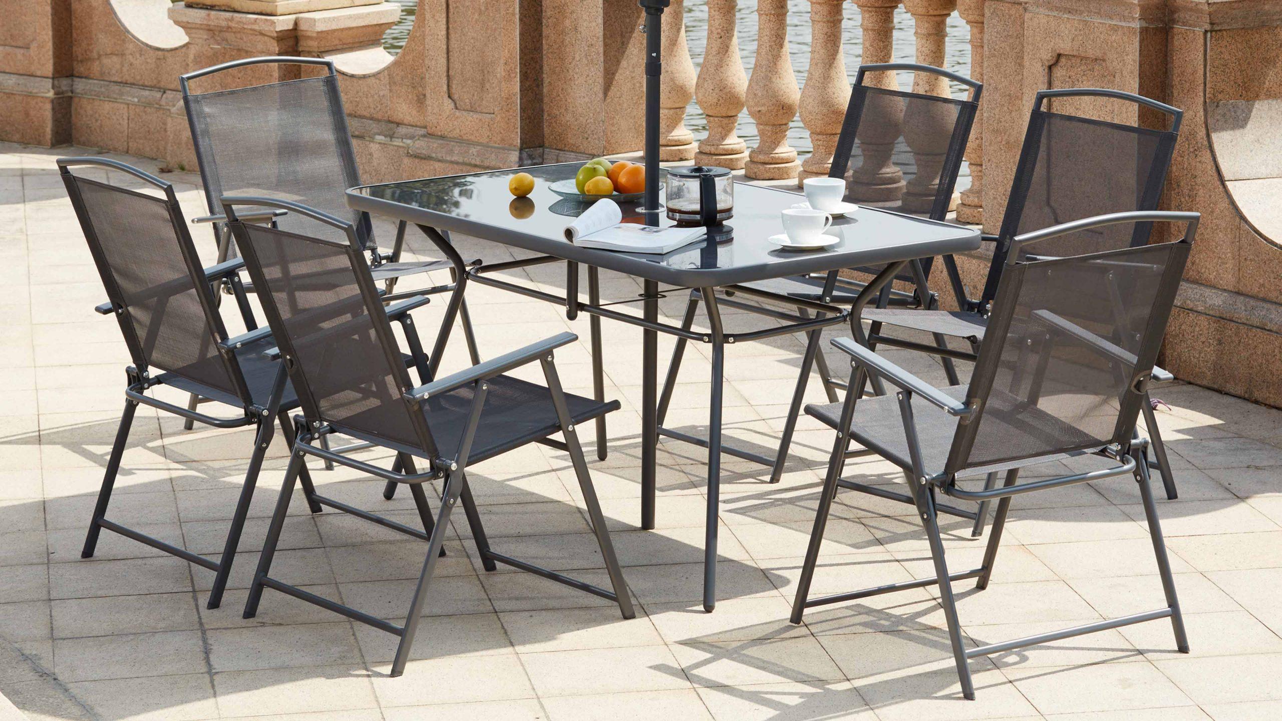 Table De Jardin 6 Chaises Et 1 Parasol destiné Table De Jardin Avec Chaise Pas Cher