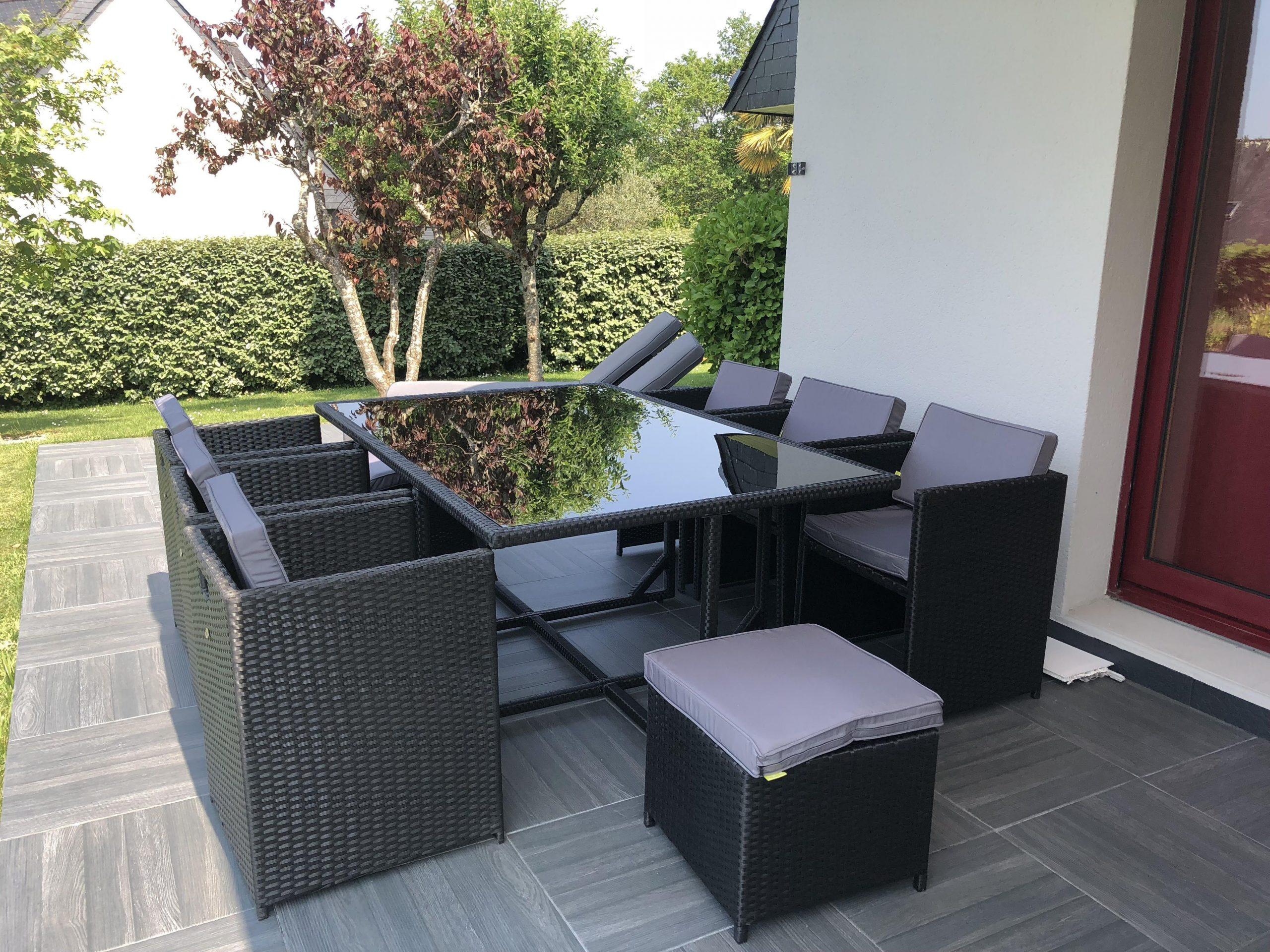 Table De Jardin 6 Fauteuils En Résine - Vasto 10 En 2020 ... tout Salon Jardin Resine Tressee Encastrable