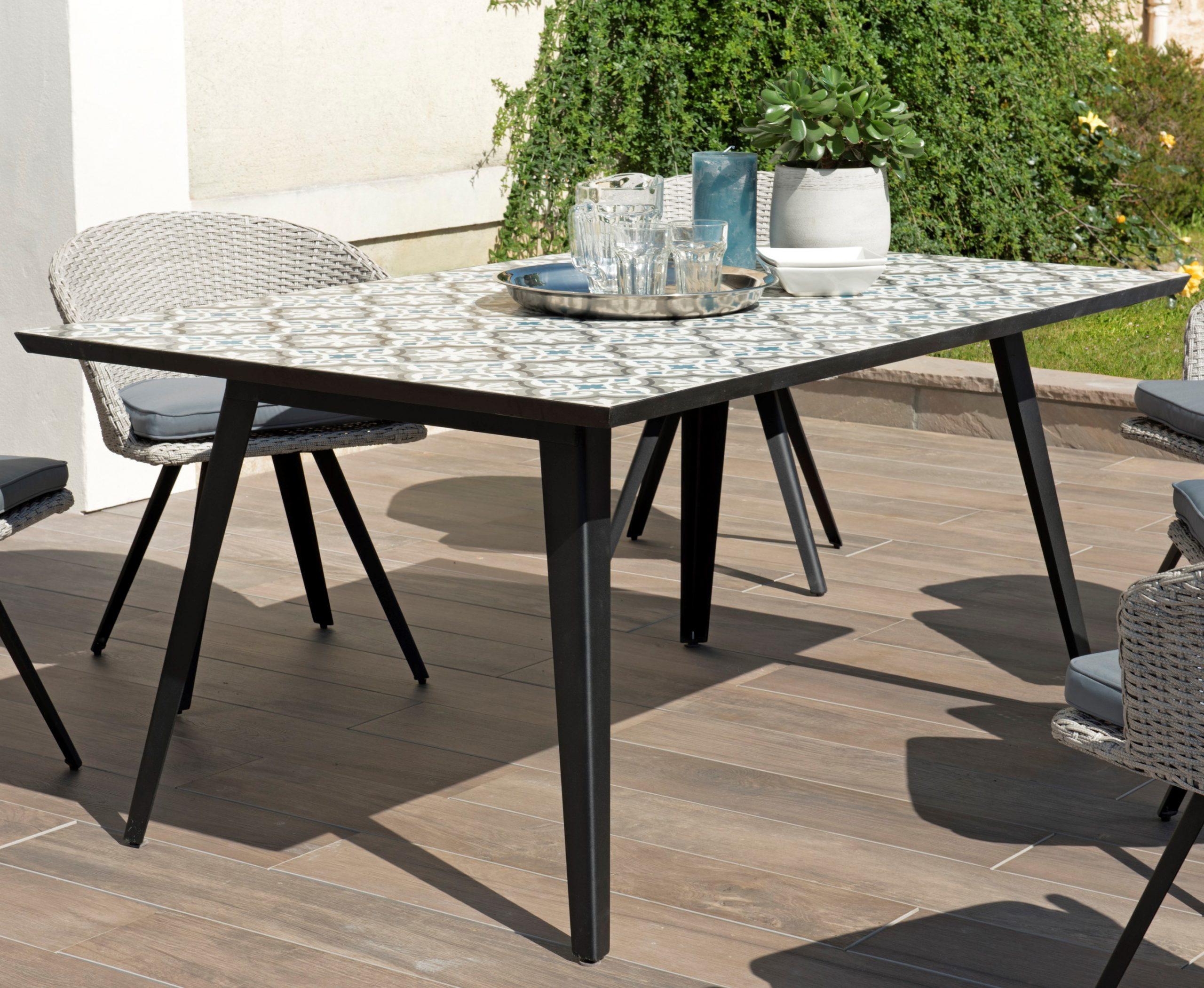 Table De Jardin 6 Personnes Carreaux De Ciment 162X102 Summer destiné Table De Jardin En Ciment