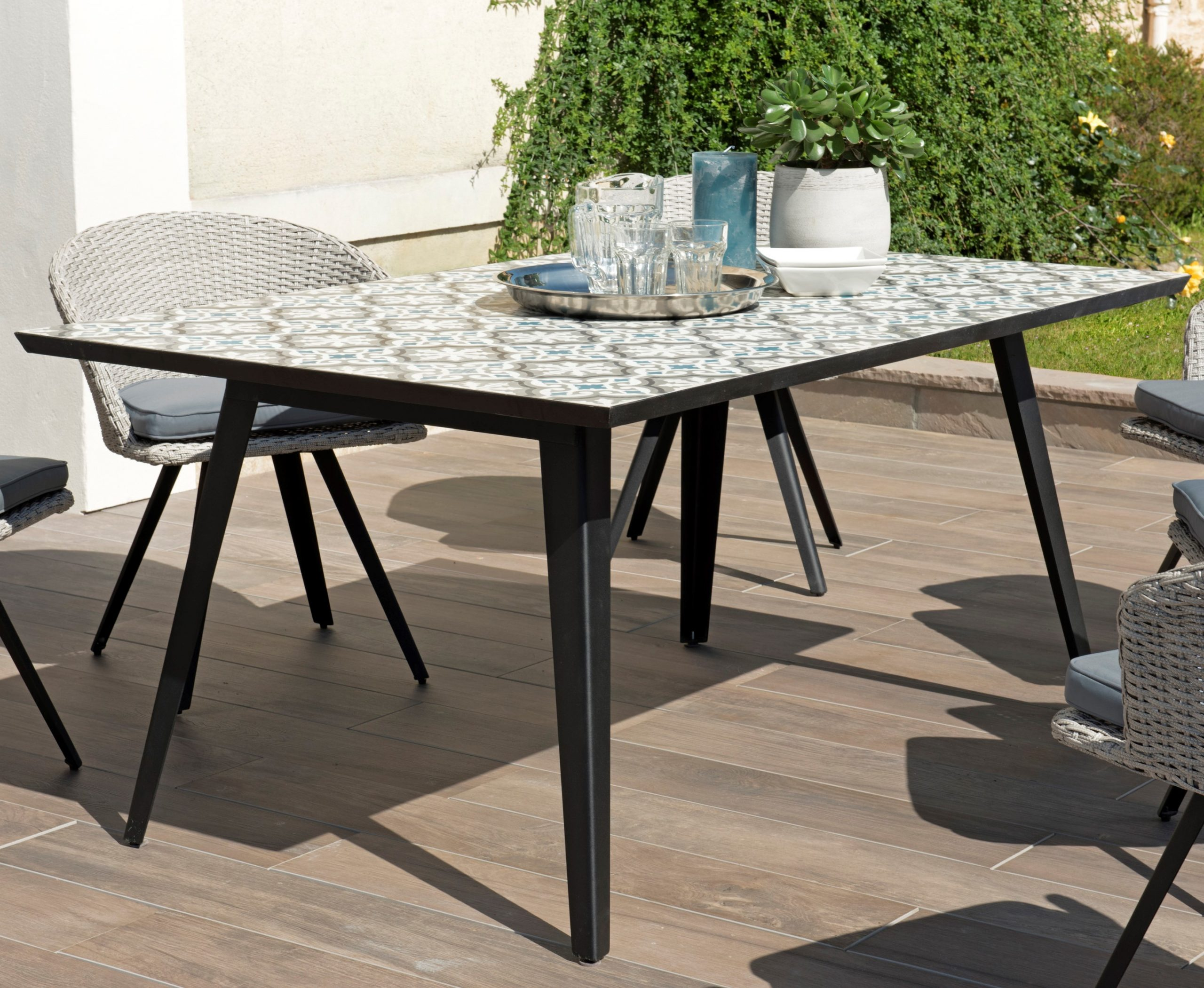 Table De Jardin 6 Personnes Carreaux De Ciment 162X102 Summer pour Table Jardin 6 Personnes