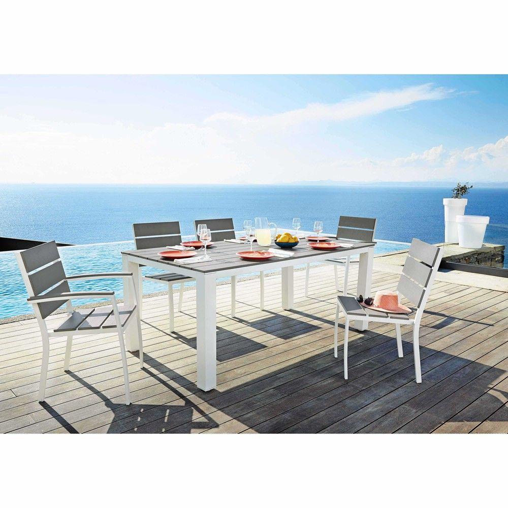 Table De Jardin 6 Personnes En Aluminium Et Composite L180 ... concernant Table De Jardin Aluminium Et Composite